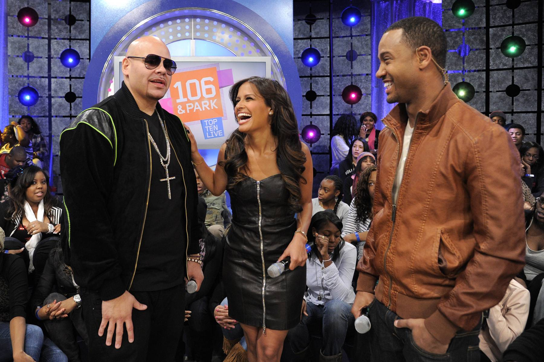 Whoa - Fat Joe and Rocsi Diaz and Terrence J chat during the commercial break at 106 & Park, January 3, 2012. (Photo: John Ricard / BET)