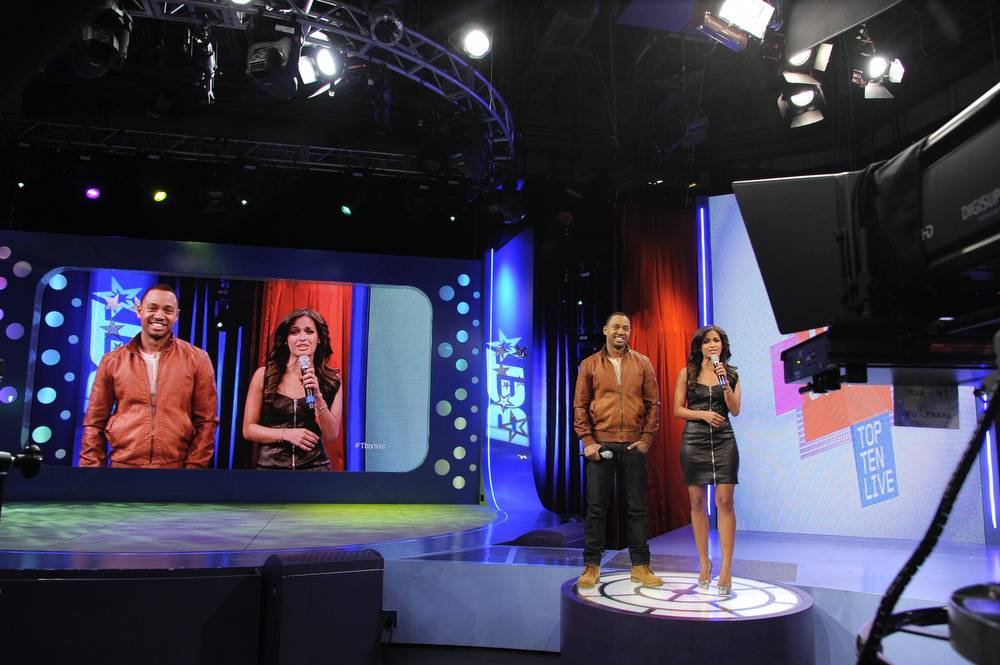 Check This Out - Hair stylist Q Hardy with Rocsi Diaz at 106 & Park, January 3, 2012. (Photo: John Ricard /BET)