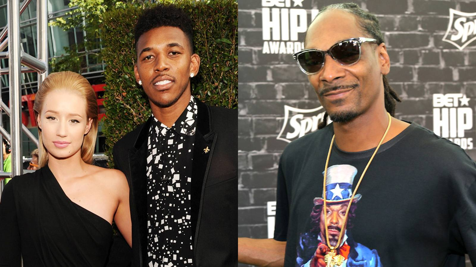 """Nick Young Defends His Boo - Iggy Azalea's baller boo, Nick Young, stepped up to defend her against Snoop Dogg's jabs on social media.""""Ain't nobody worried about no Snoop Lion..this dude just got thru a midlife crisis You Go get convertible yet. OGs out here losin. [sic]""""  Young had more tweets for Snoop, poking at his age, so you get the idea. As long as this war of words stays on social media.(Photos from left: Kevin Mazur/WireImage, Johnny Nunez/BET/Getty Images for BET)"""