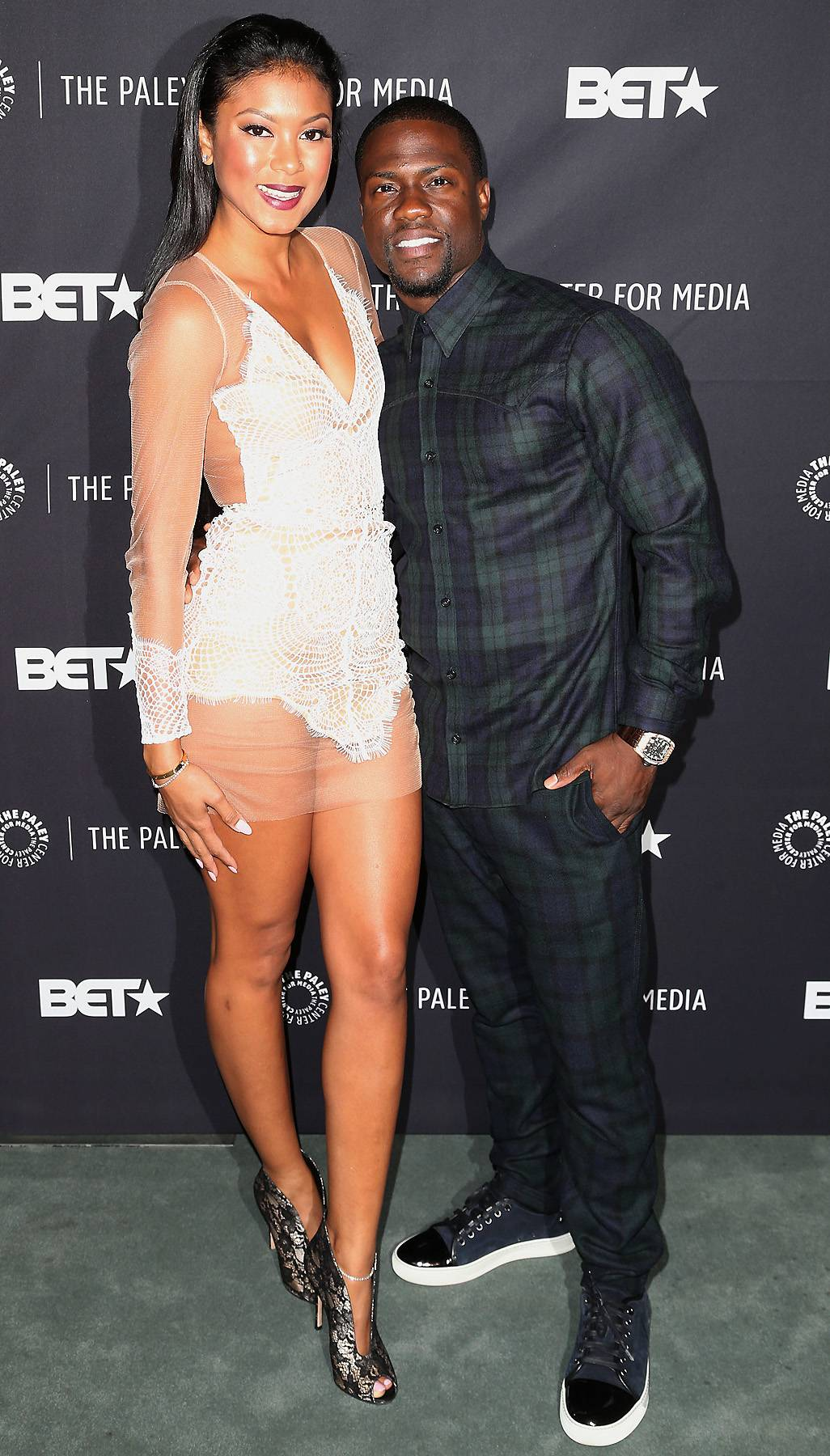 Soon to Be Real Husband (For Real) - Kevin and his fiance, Eniko Parrish, took a moment to pose together. We guess Kevin really will be a husband again soon.  (Photo: Frederick M. Brown/Getty Images)