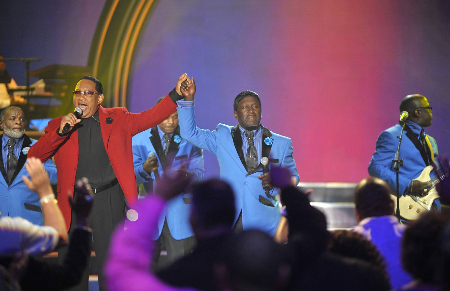 Bobby Jones, Doc McKenzie and The Hi-Lites - Bobby Jones speaks to Doc McKenzie and The Hi-Lites during the taping of BET's Bobby Jones Gospel at BET Studios on August 1, 2014, in Washington, D.C.(Photo: Kris Connor/Getty Images for BET Networks)