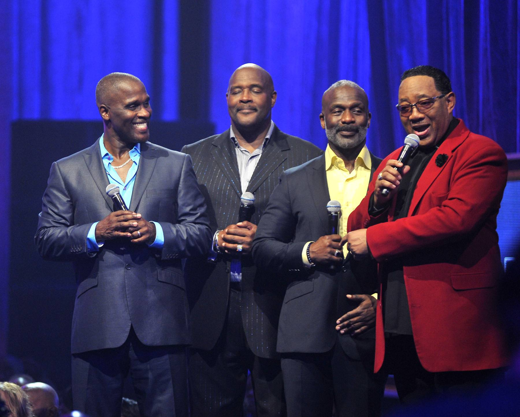 3WB and Dr. Jones - Bobby Jonesspeaks with 3WB during the taping of BET's Bobby Jones Gospel at BET Studios on August 2, 2014, in Washington, D.C.(Photo: Kris Connor/Getty Images for BET Networks)