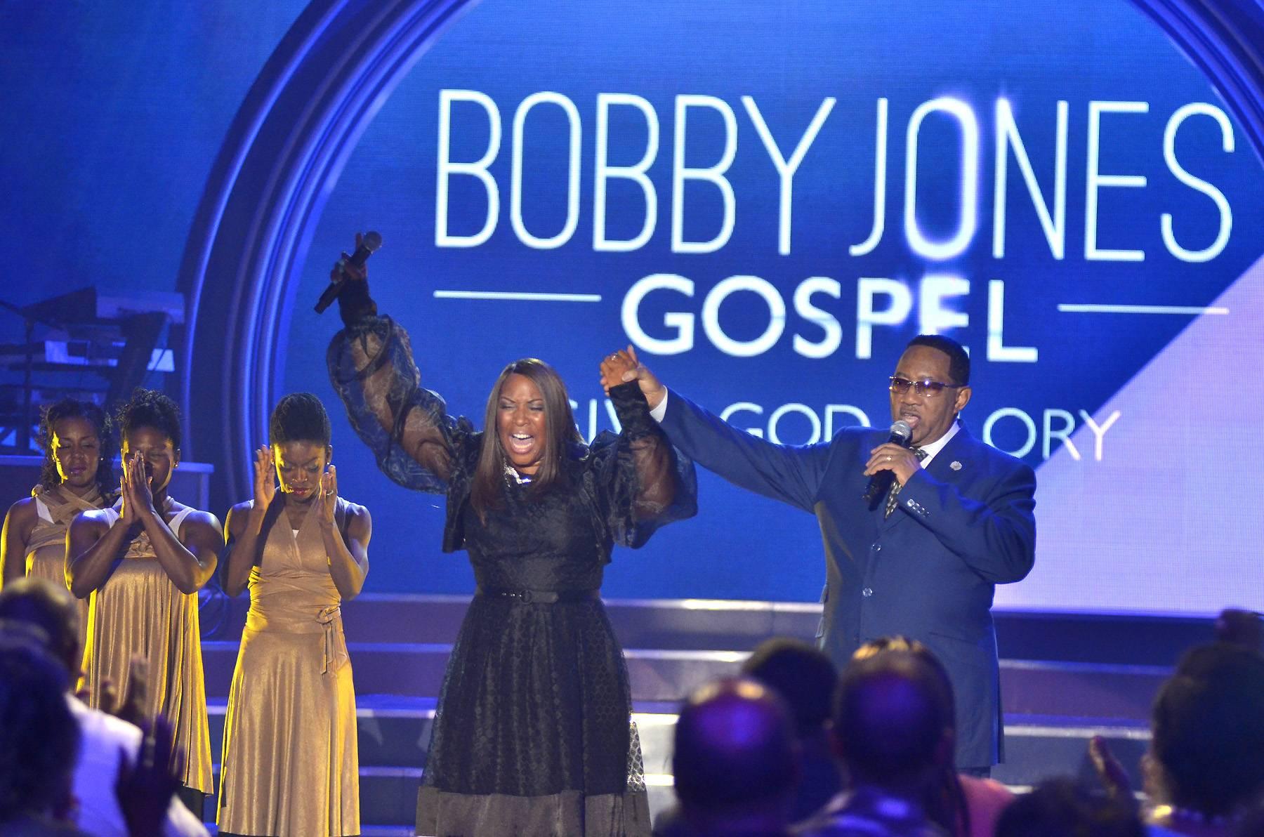 Dr. Bobby Jones and Nancy Jackson Johnson - Bobby Jones speaks with Nancy Jackson Johnson during the taping of BET's Bobby Jones Gospel at BET Studios on August 3, 2014, in Washington, D.C.(Photo: Kris Connor/Getty Images for BET Networks)