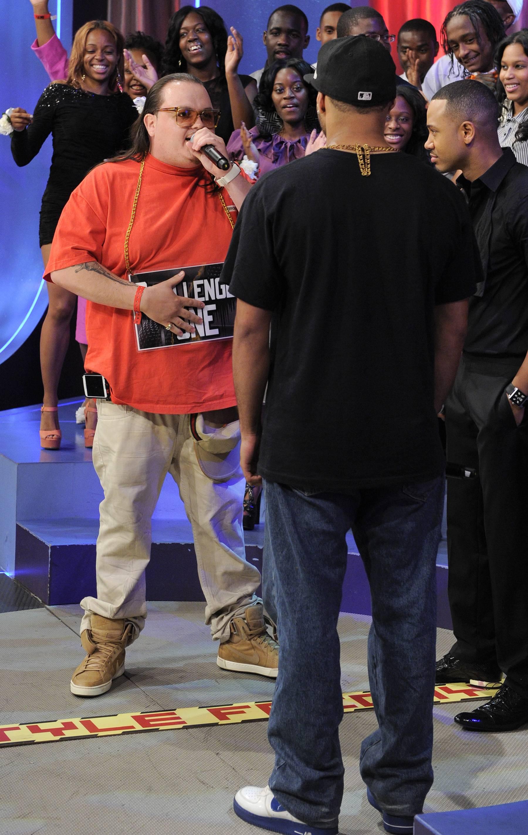 Fatz Breaks It Down - Freestyle Friday contestants Interstate Fatz and Jayo the Beatslayer at 106 & Park, May 25, 2012. (Photo: John Ricard / BET)