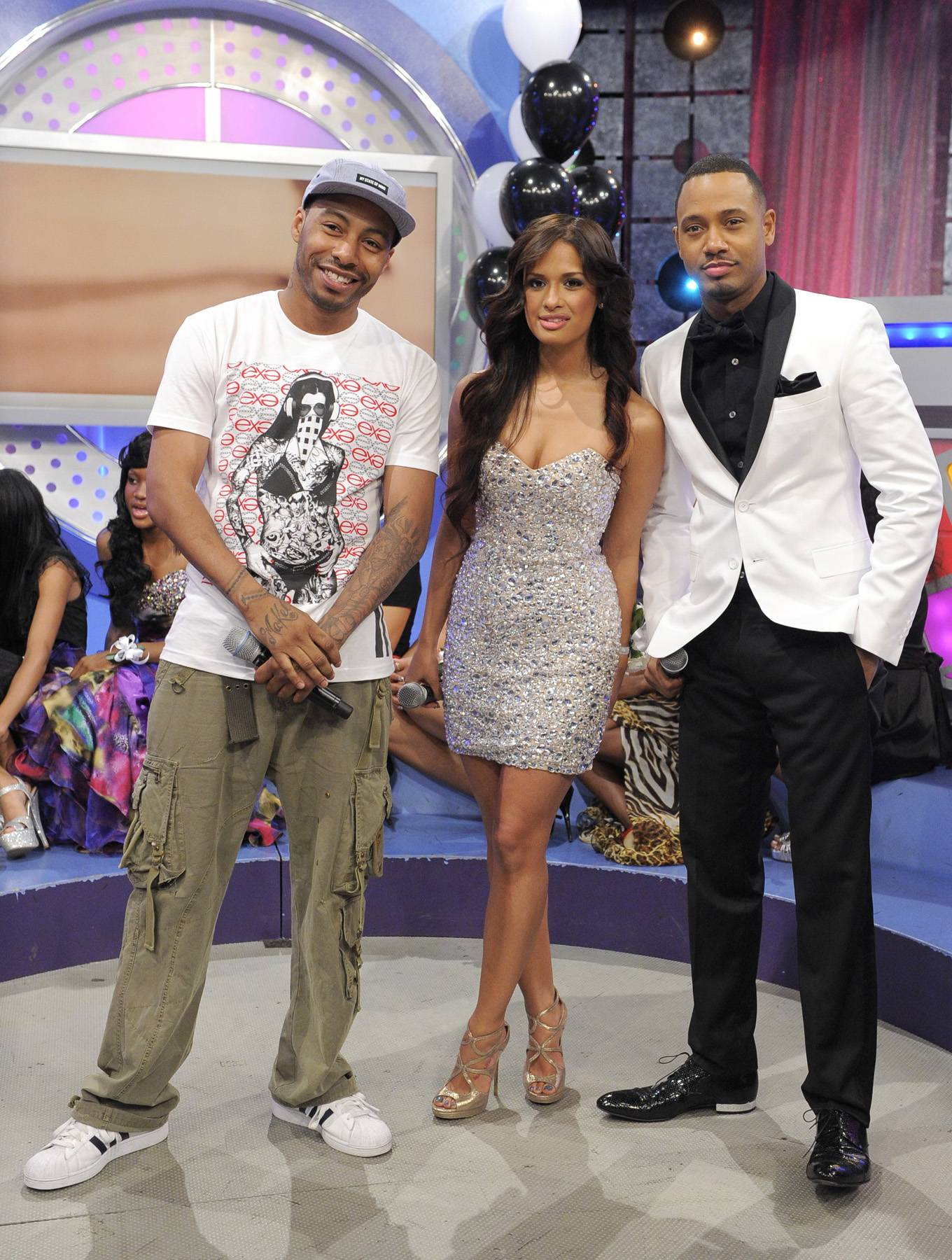 Here They Come - Bones Brigante with Rocsi Diaz and Terrence J at 106 & Park, May 25, 2012. (Photo: John Ricard / BET)