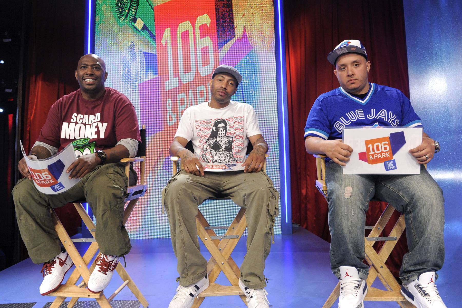 Judges For The Win - Freestyle Friday judges Bink! Bones Brigante and AJ Ahmed at 106 & Park, May 25, 2012. (Photo: John Ricard / BET)