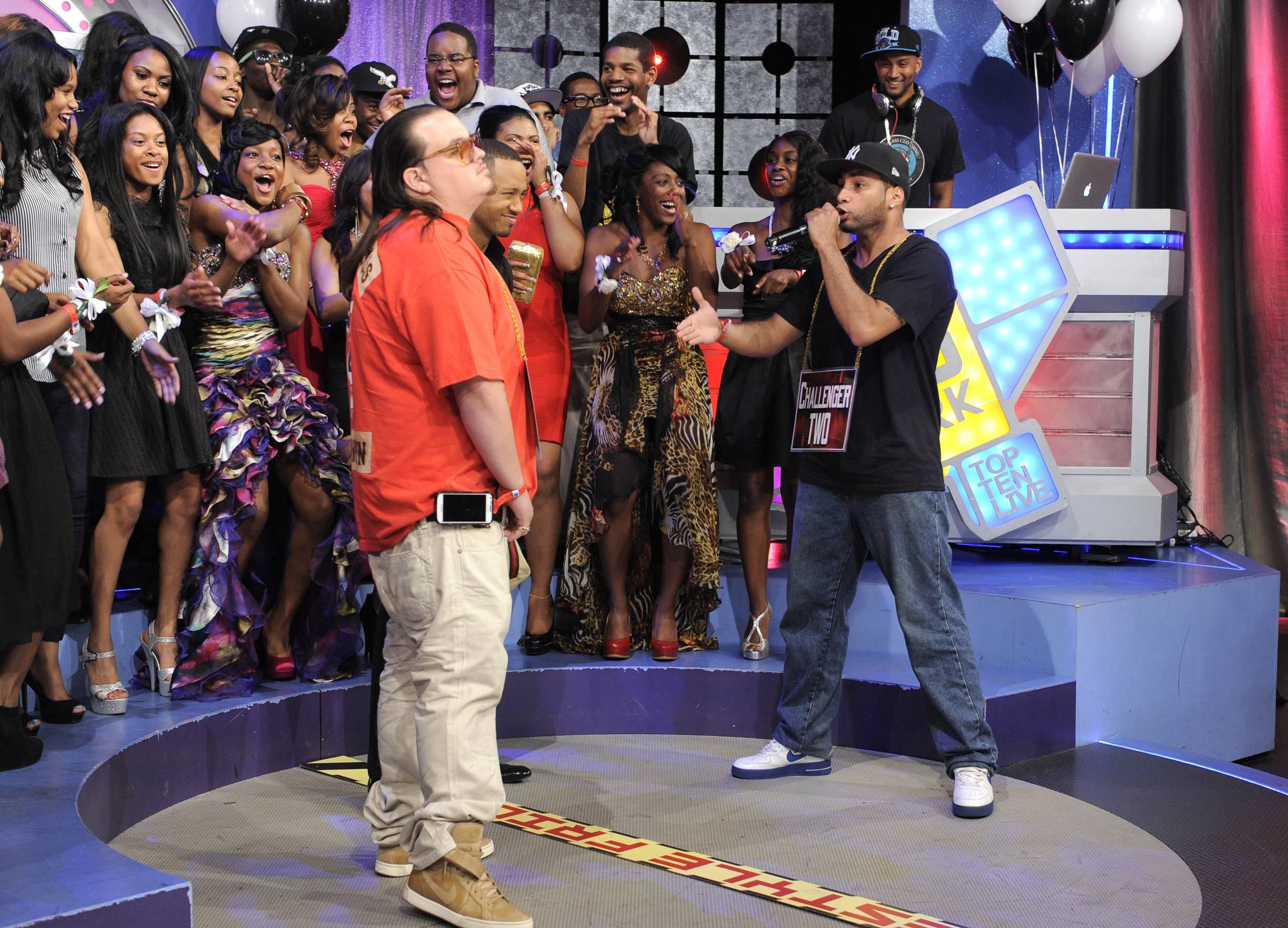 Jayo Slays The Beat - Freestyle Friday contestants Interstate Fatz and Jayo the Beatslayer at 106 & Park, May 25, 2012. (Photo: John Ricard / BET)
