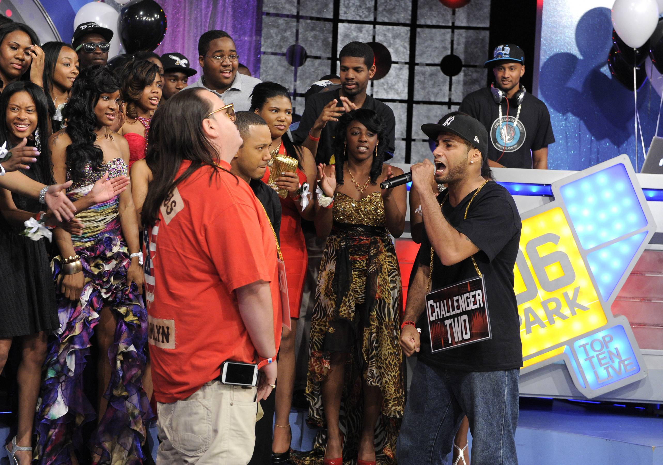 I Get It - Freestyle Friday contestants Interstate Fatz and Jayo the Beatslayer at 106 & Park, May 25, 2012. (Photo: John Ricard / BET)
