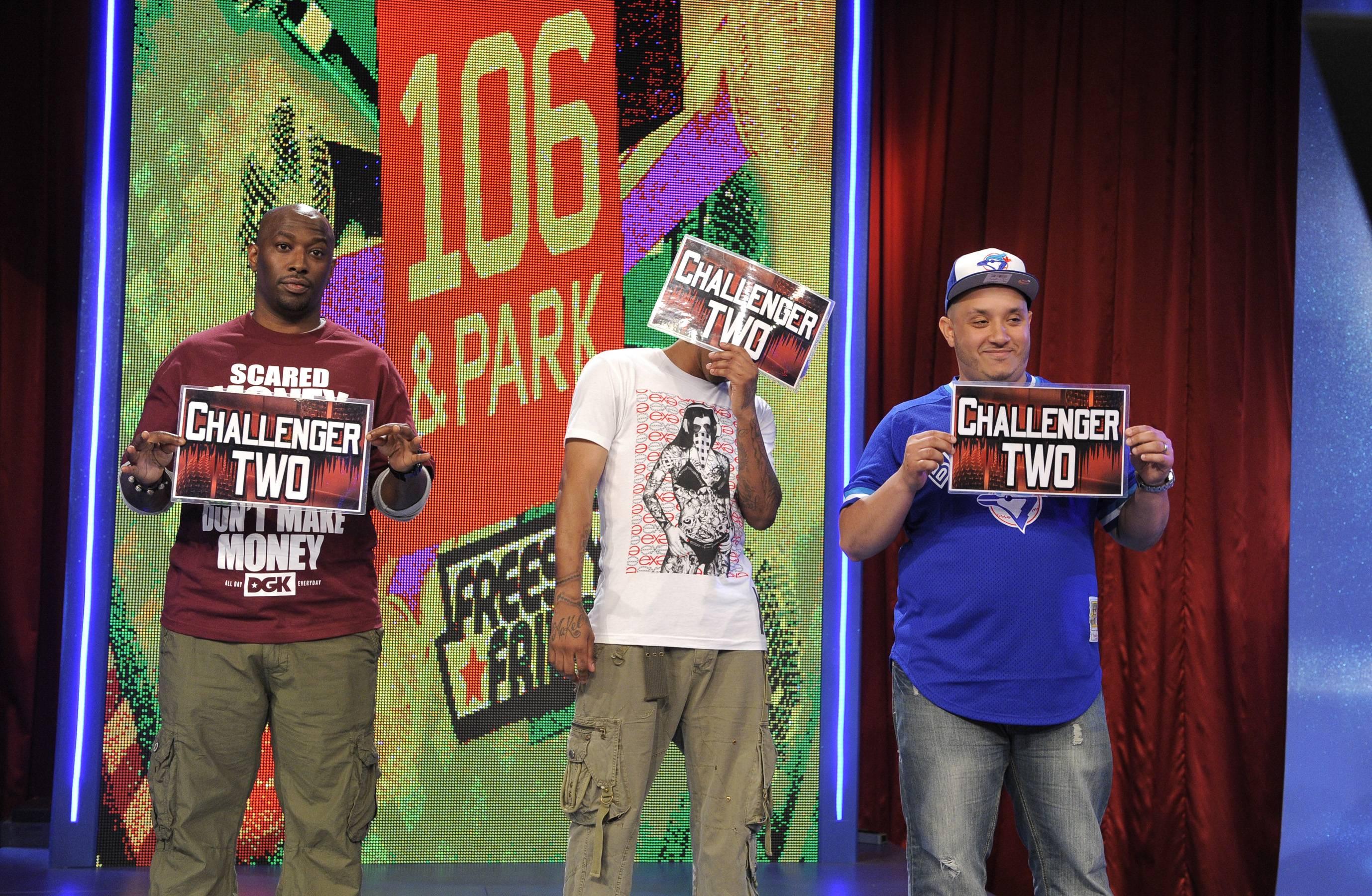He Won - Freestyle Friday judges Bink! Bones Brigante and AJ Ahmed at 106 & Park, May 25, 2012. (Photo: John Ricard / BET)