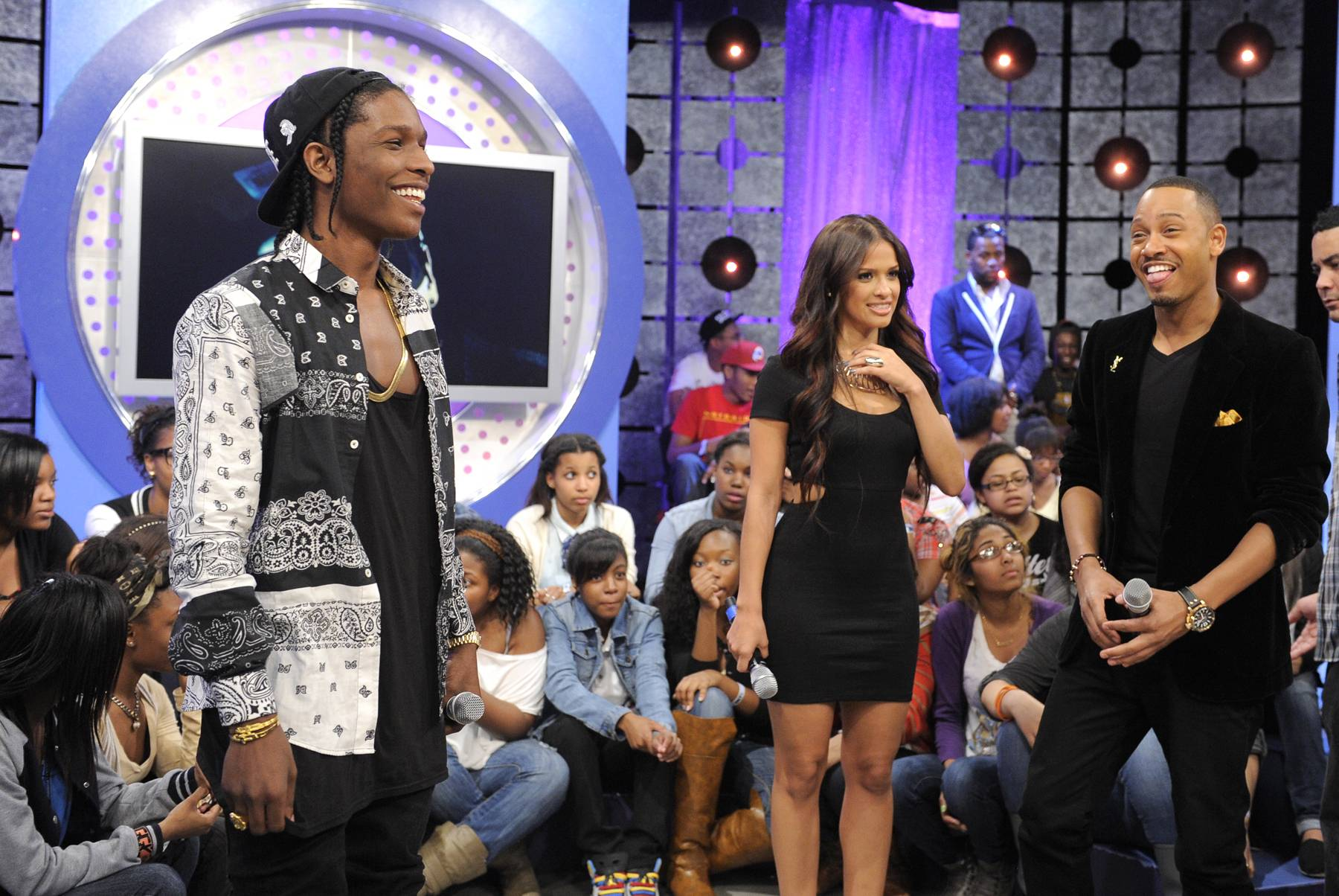 Giving 106 the Nitty Gritty - A$AP Rocky with Rocsi Diaz and Terrence J at 106 & Park, May 22, 2012. (Photo: John Ricard / BET)