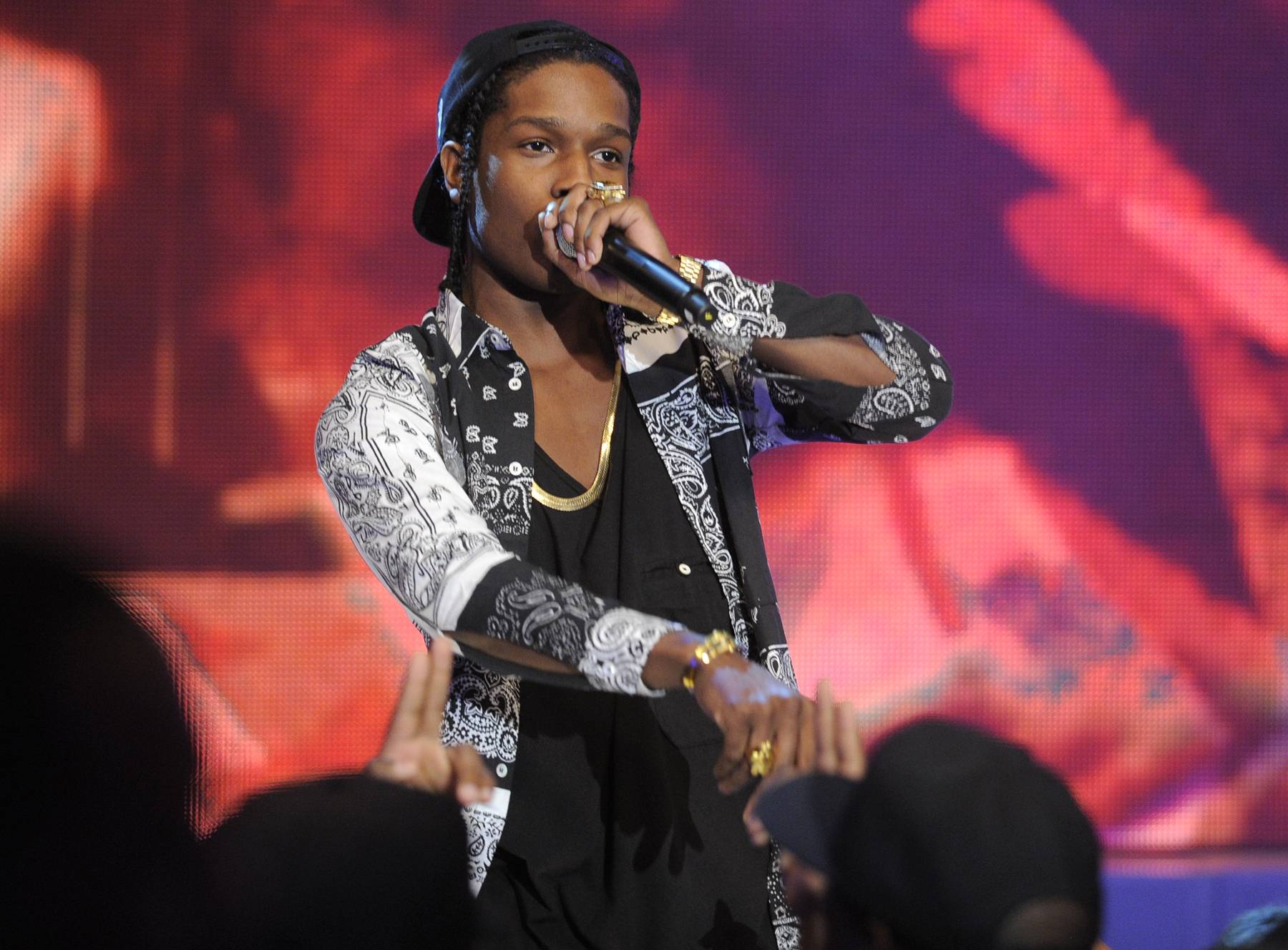 "Harlems Finest - A$AP Rocky performs ""Peso"" at 106 & Park, May 22, 2012.  (Photo: John Ricard / BET)"