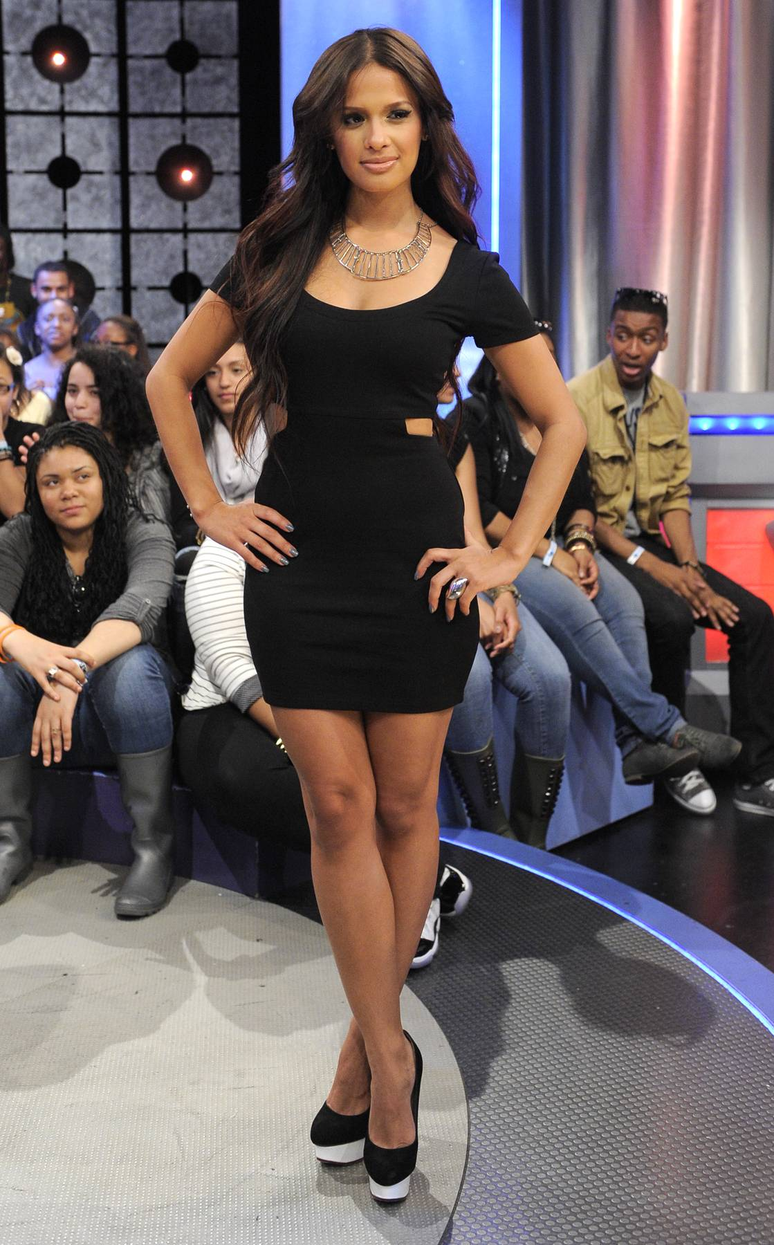Platform Lifestyle - Great little black dress with an even better black heel coupled with a white platform on the shoe. Work!(Photo: John Ricard/BET)