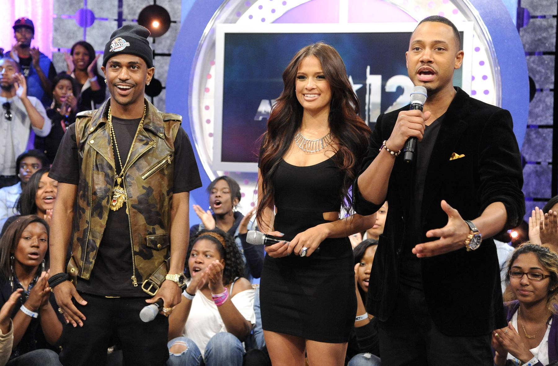 Camo Is In! - Big Sean with Rocsi Diaz and Terrence J at 106 & Park, May 22, 2012. (Photo: John Ricard / BET)