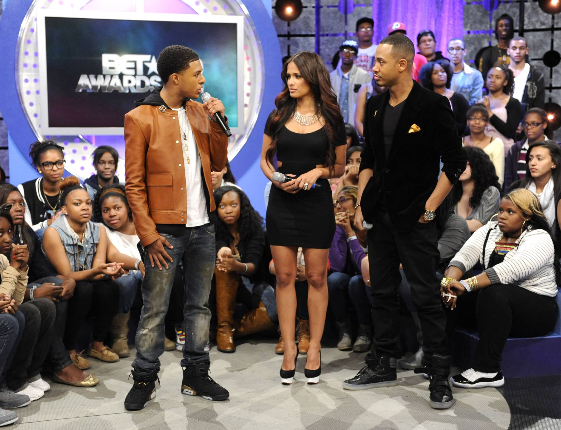 A Little Conversation - Diggy Simmons with Rocsi Diaz and Terrence J at 106 & Park, May 22, 2012. (Photo: John Ricard / BET)