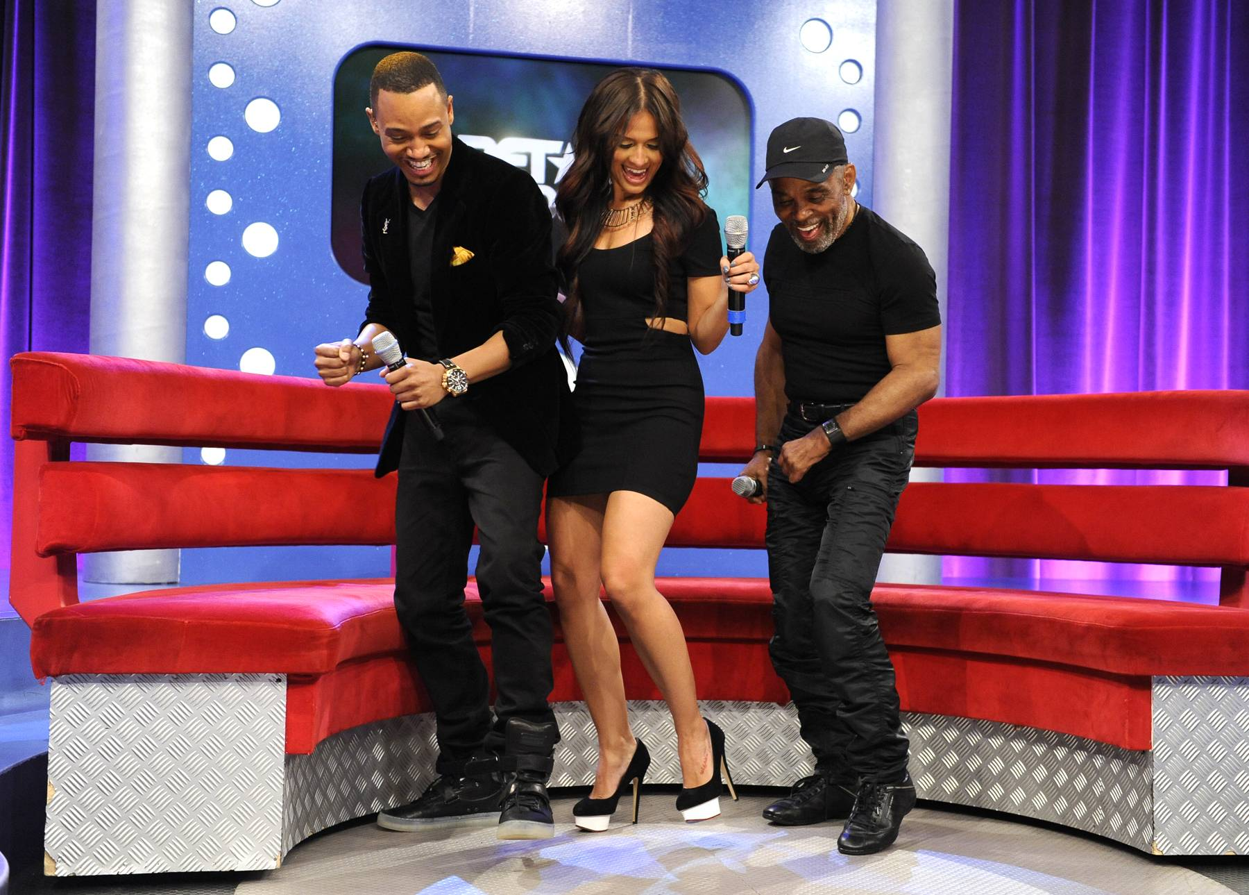 Two-Step - Frankie Beverly with Rocsi Diaz and Terrence J at 106 & Park, May 22, 2012. (Photo: John Ricard / BET)