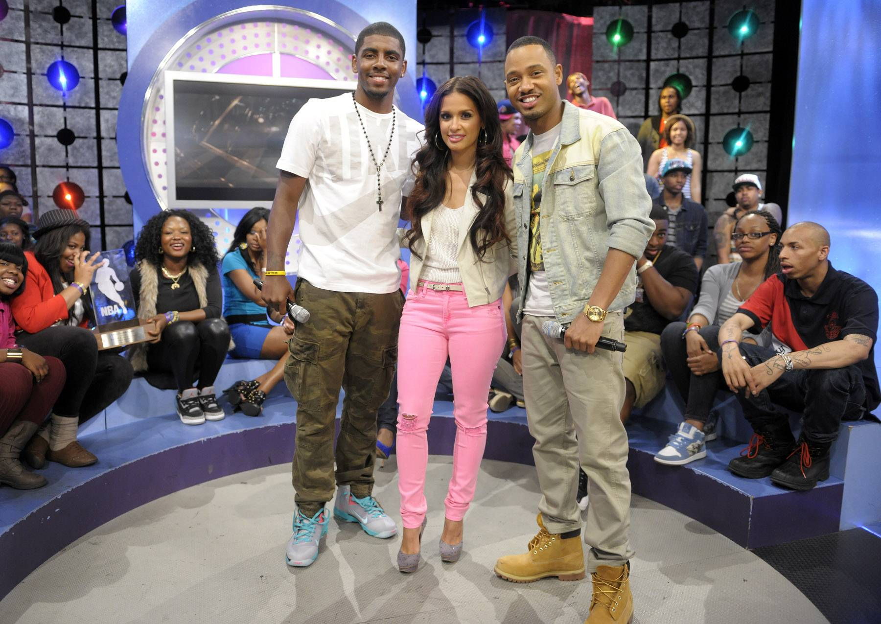 Snap it. - Kyrie Irving with Rocsi Diaz and Terrence J at 106 & Park, May 16, 2012. (Photo: John Ricard / BET)