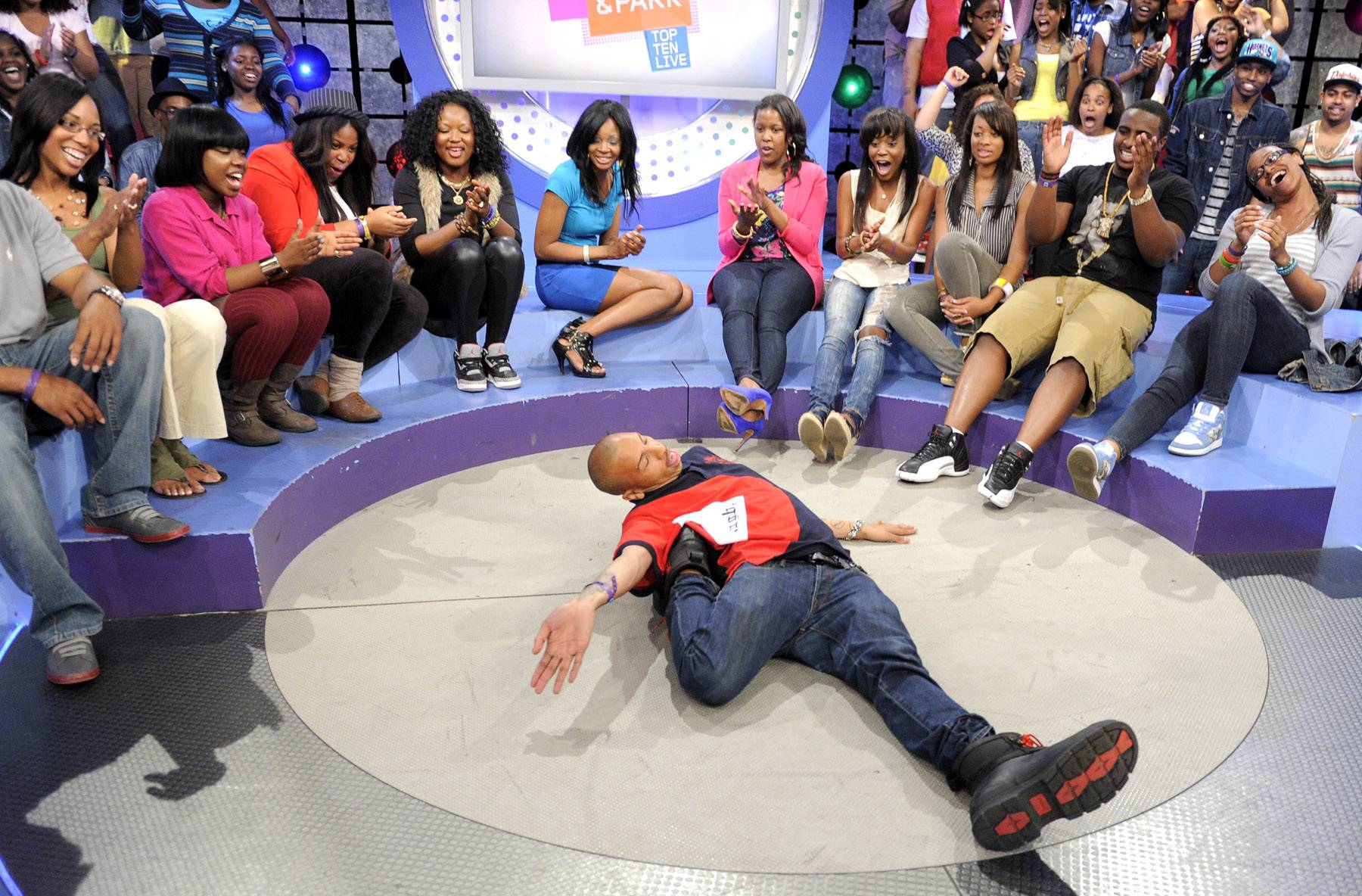Check me out - Audience member gets down at 106 & Park, May 16, 2012. (Photo: John Ricard / BET)