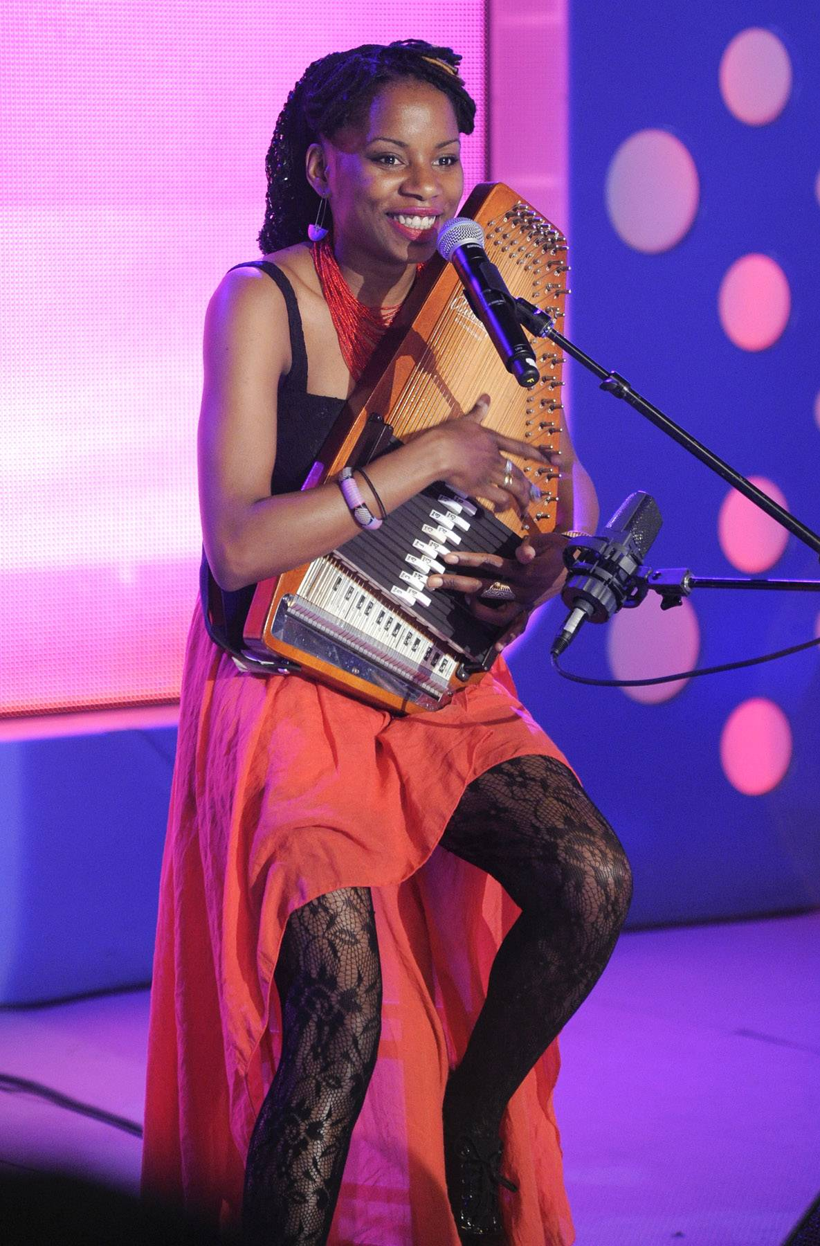 """Sing for me - Lady Moon performs """"The Secret"""" at 106 & Park, May 16, 2012. (Photo: John Ricard / BET)"""