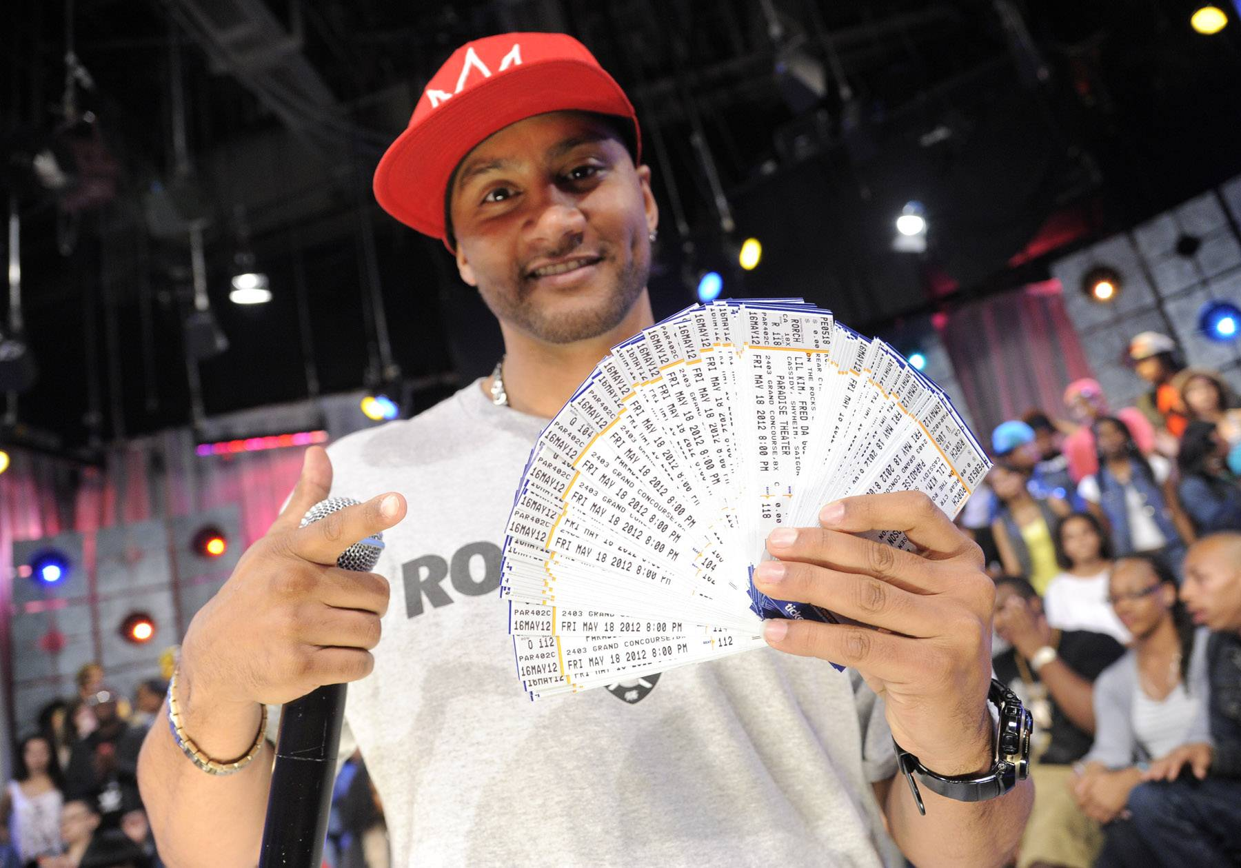 He has lots of tickets - DJ Lyve with free tickets for a Lil Kim concert to be given the livest audience member at 106 & Park, May 16, 2012. (Photo: John Ricard / BET)