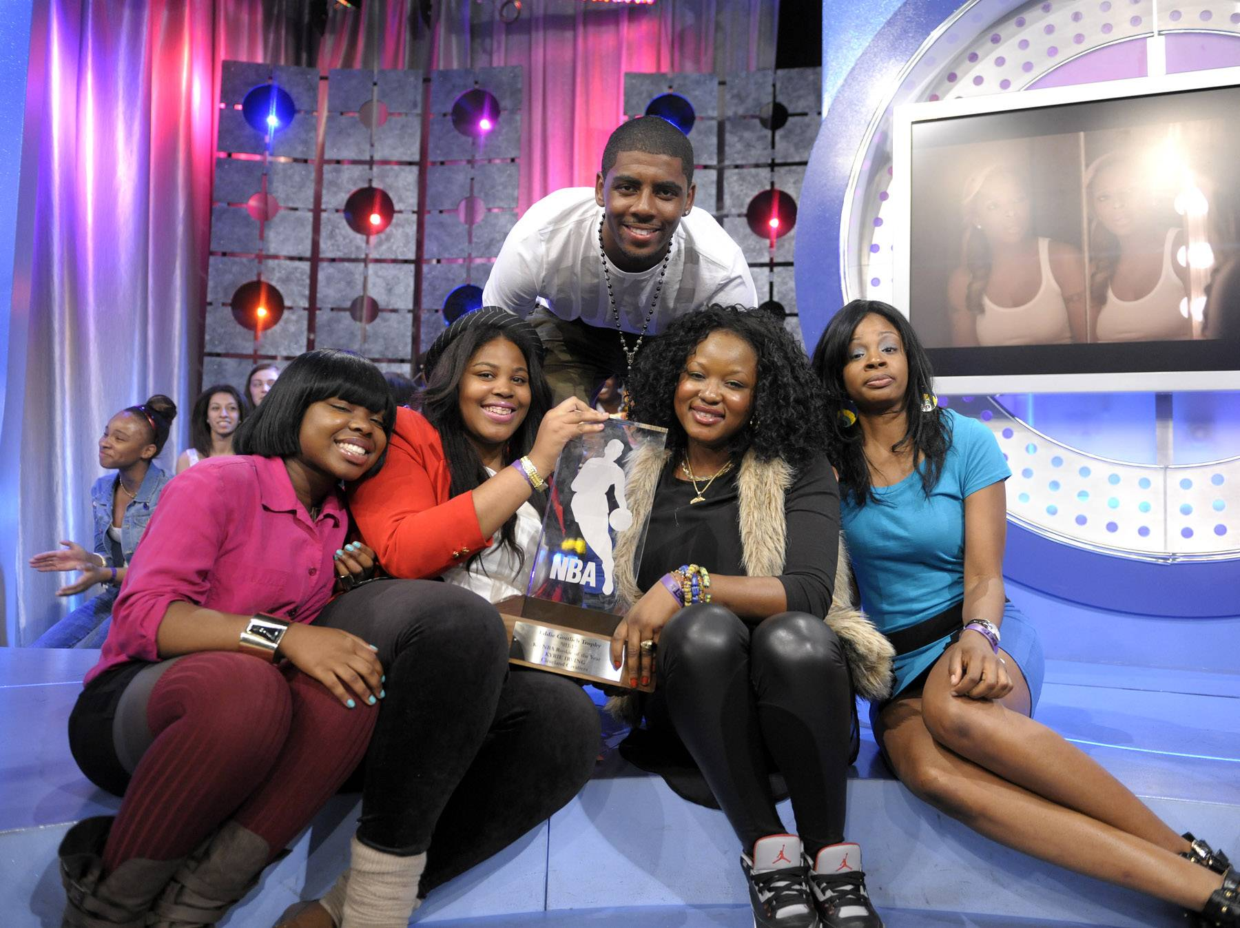 Fans - Kyrie Irving greets audience members at 106 & Park, May 16, 2012. (Photo: John Ricard / BET)