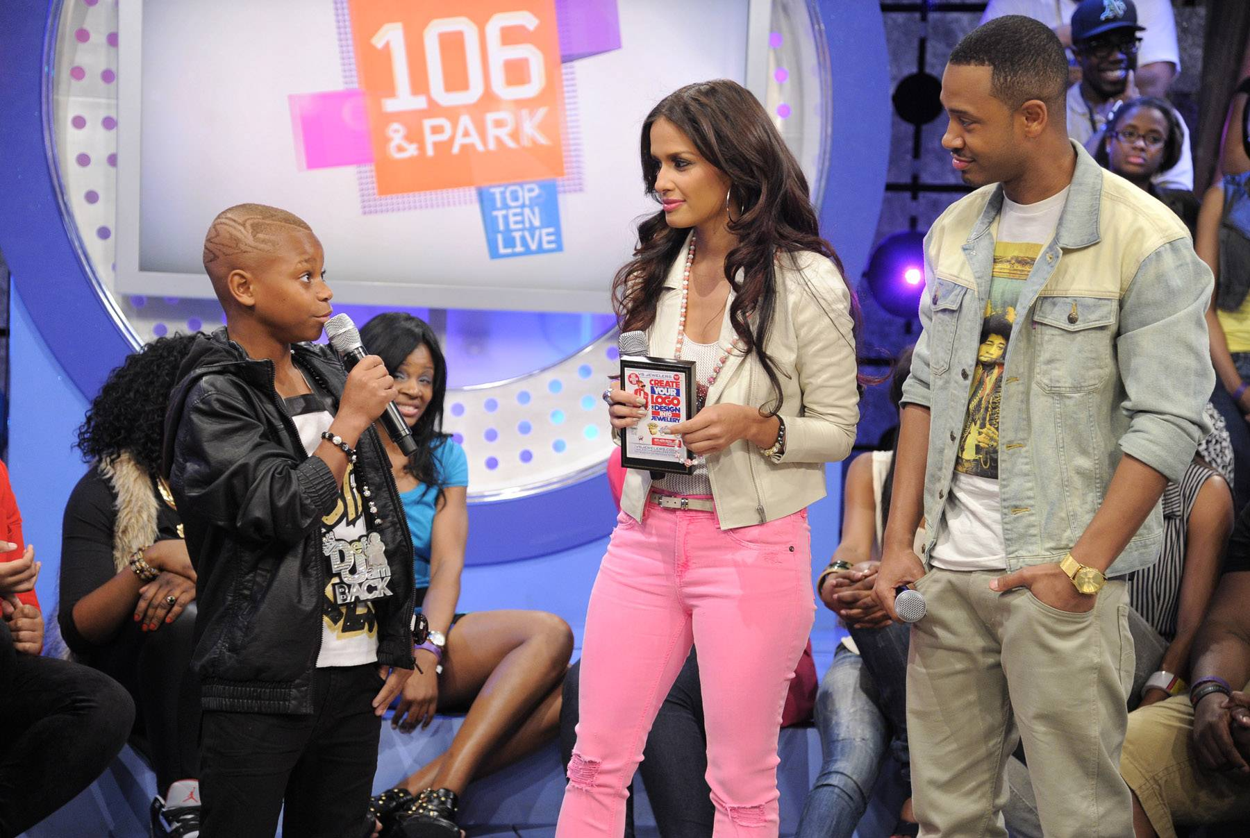 The stage - Lil Niqo with Rocsi Diaz and Terrence J at 106 & Park, May 16, 2012. (Photo: John Ricard / BET)