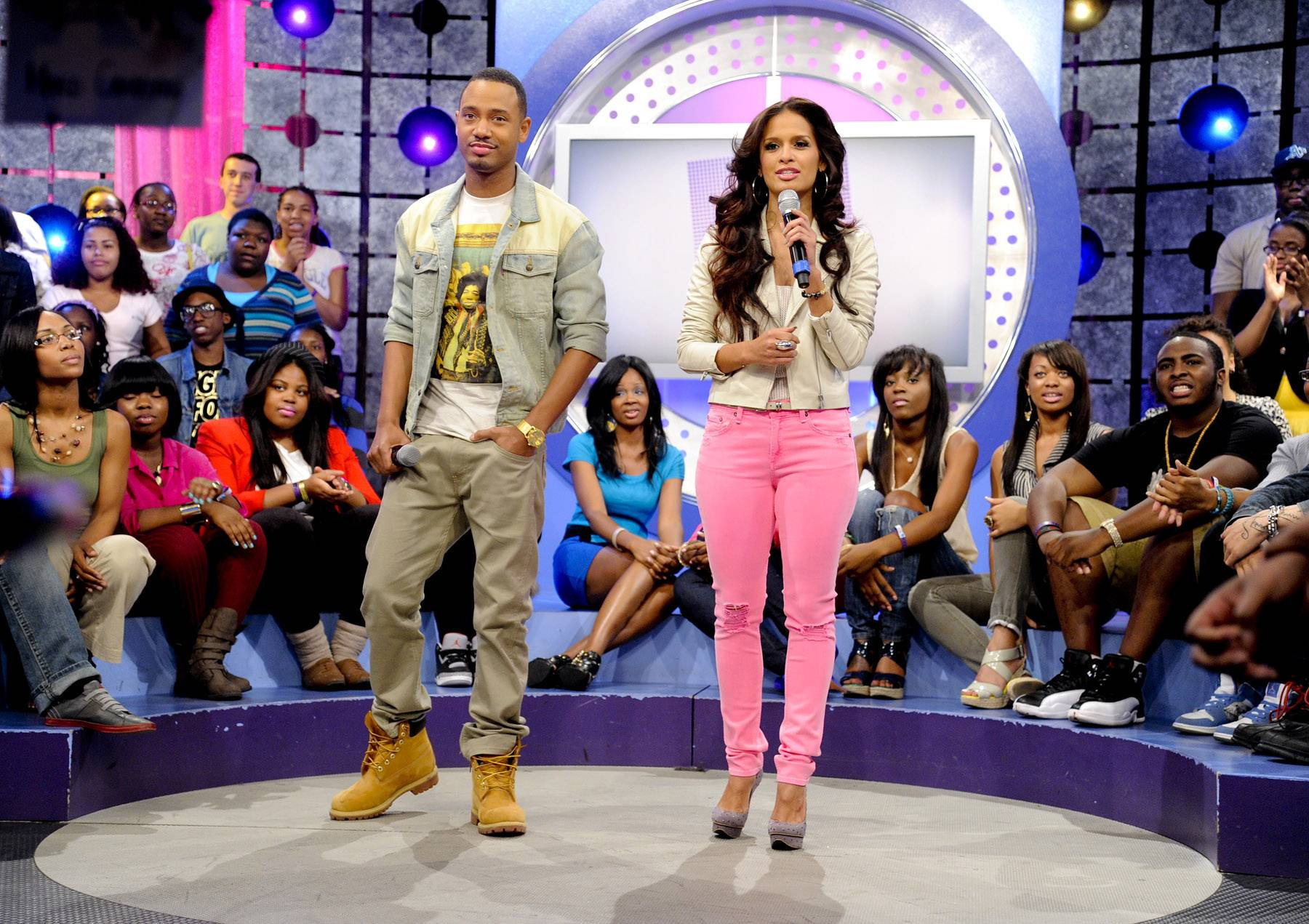 Lets get it started - Terrence J and Rocsi Diaz at 106 & Park, May 16, 2012. (Photo: John Ricard / BET)