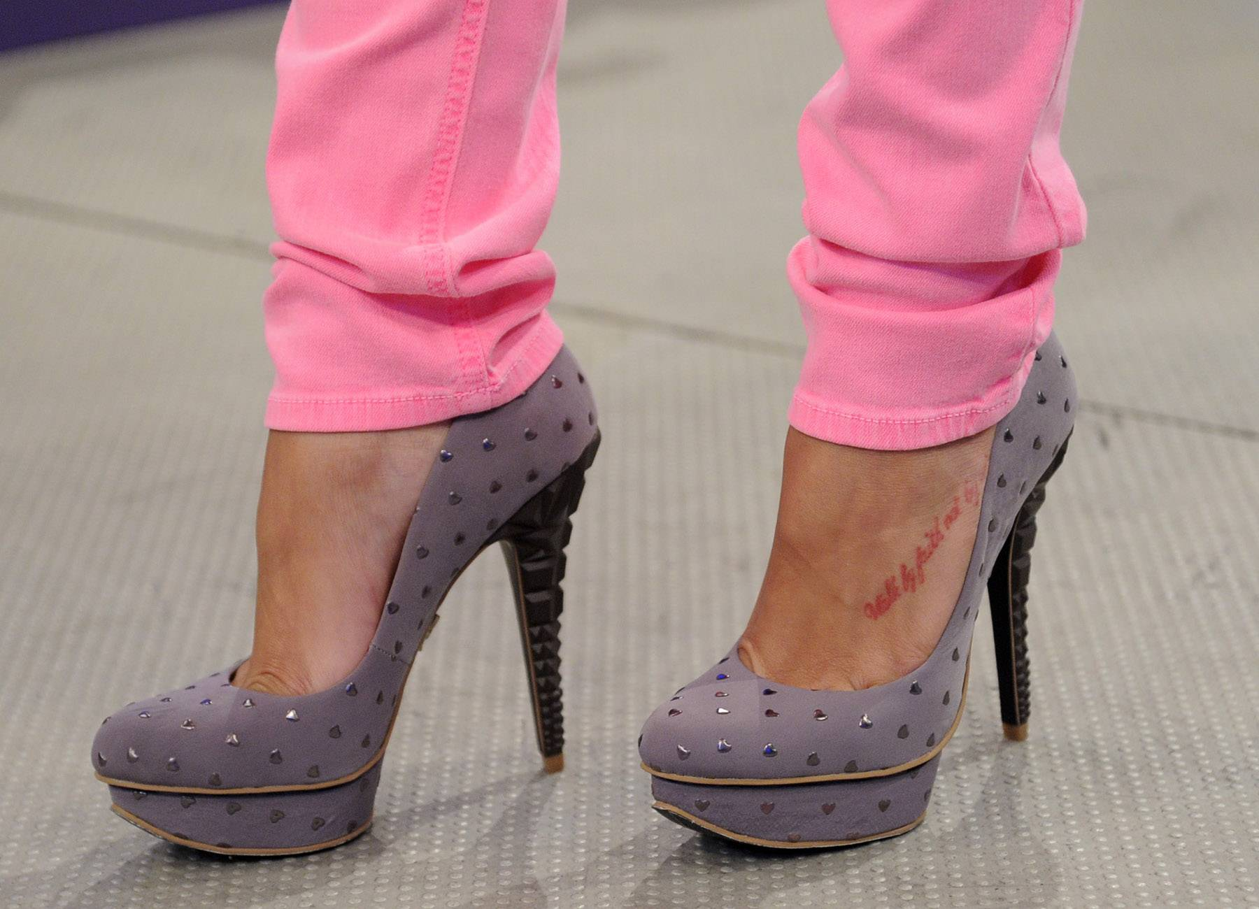 Close-Up - A close-up of Rocsi's studded lavender platform heels. Look at the detail on the actual heel, though. Amazingly fly.(Photo: John Ricard/BET)