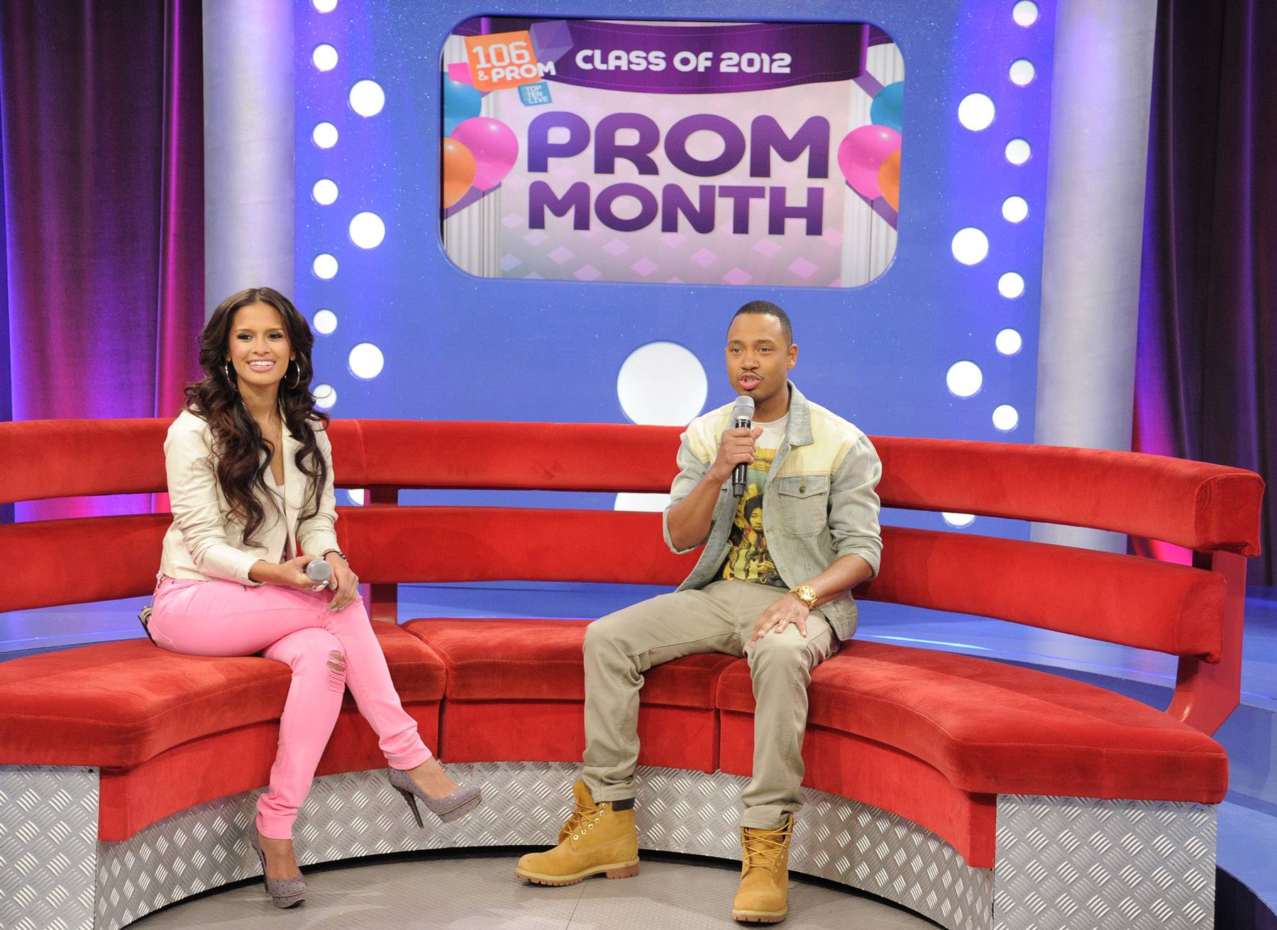 Terrence is talking to the crowd. - Rocsi Diaz and Terrence J prepare for the Prom Night fashion show at 106 & Park, May 16, 2012. (Photo: John Ricard / BET)