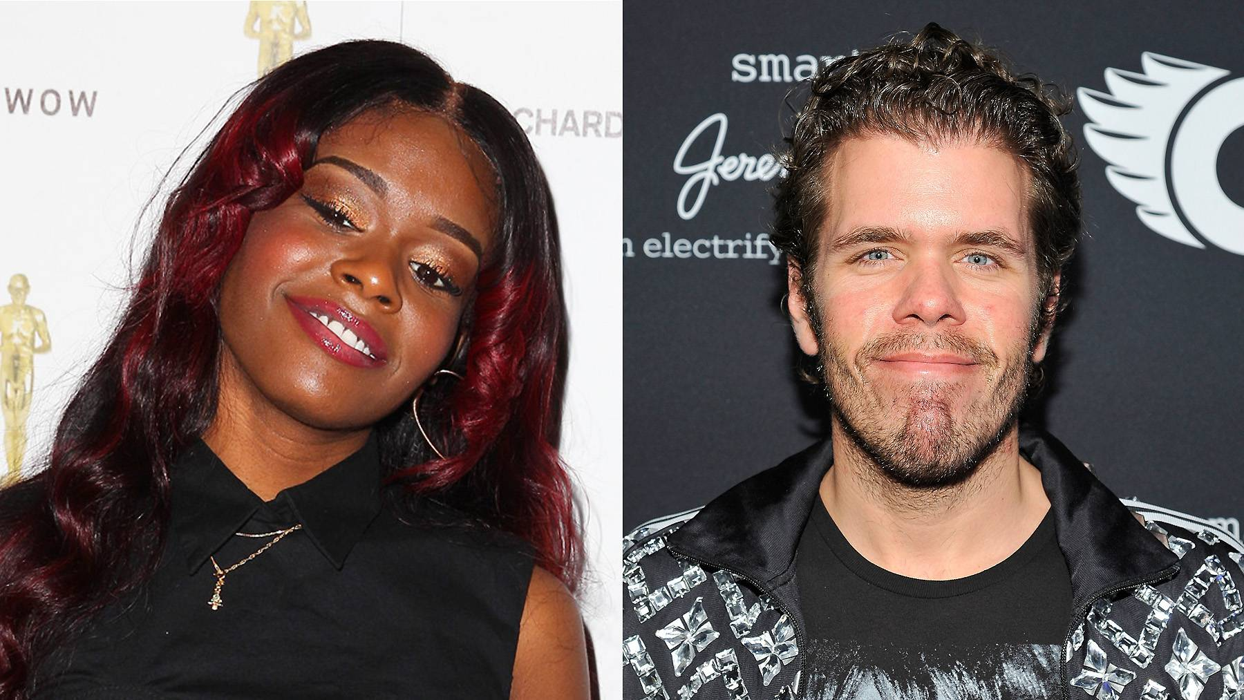 """Perez Hilton - Azealia Banksbutted heads with celebrity blogger Perez Hilton after he publicly expressed his support for Banks's newfound foe Angel Haze.Azealia struck back on Twitter, calling Hilton a """"messy f****t."""" She was criticized for using the slur, and offered this explanation: """"A f****t is not a homosexual male. A f****t is any male who acts like a female. There's a BIG difference,"""" she wrote. """"As a bisexual person I knew what I meant when I used that word...My most sincere apologies to anyone who was indirectly offended by my foul language.""""(Photos from left: Joe Scarnici/Getty Images for GQ, John Sciulli/Getty Images for smart)"""