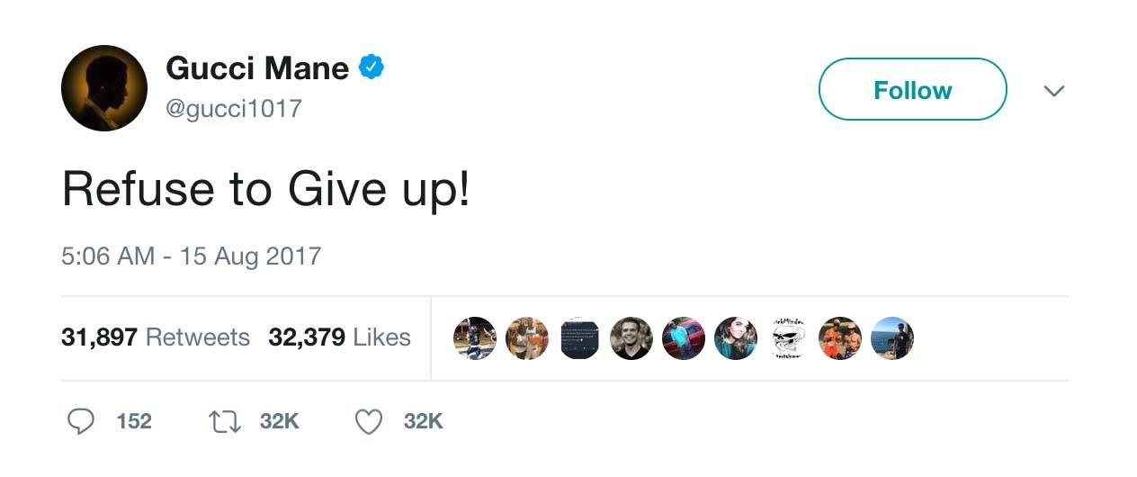 Keep Going - (Photo: Gucci Mane via Twitter)