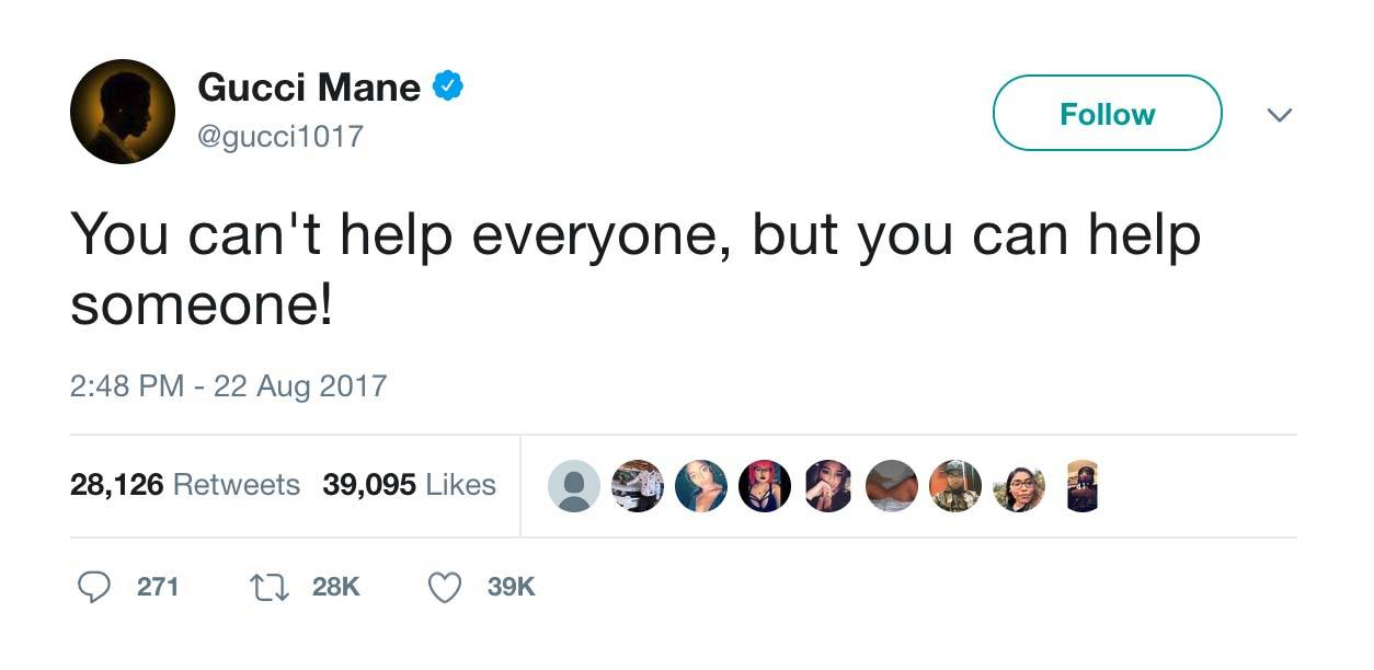 Be Kind! - (Photo: Gucci Mane via Twitter)