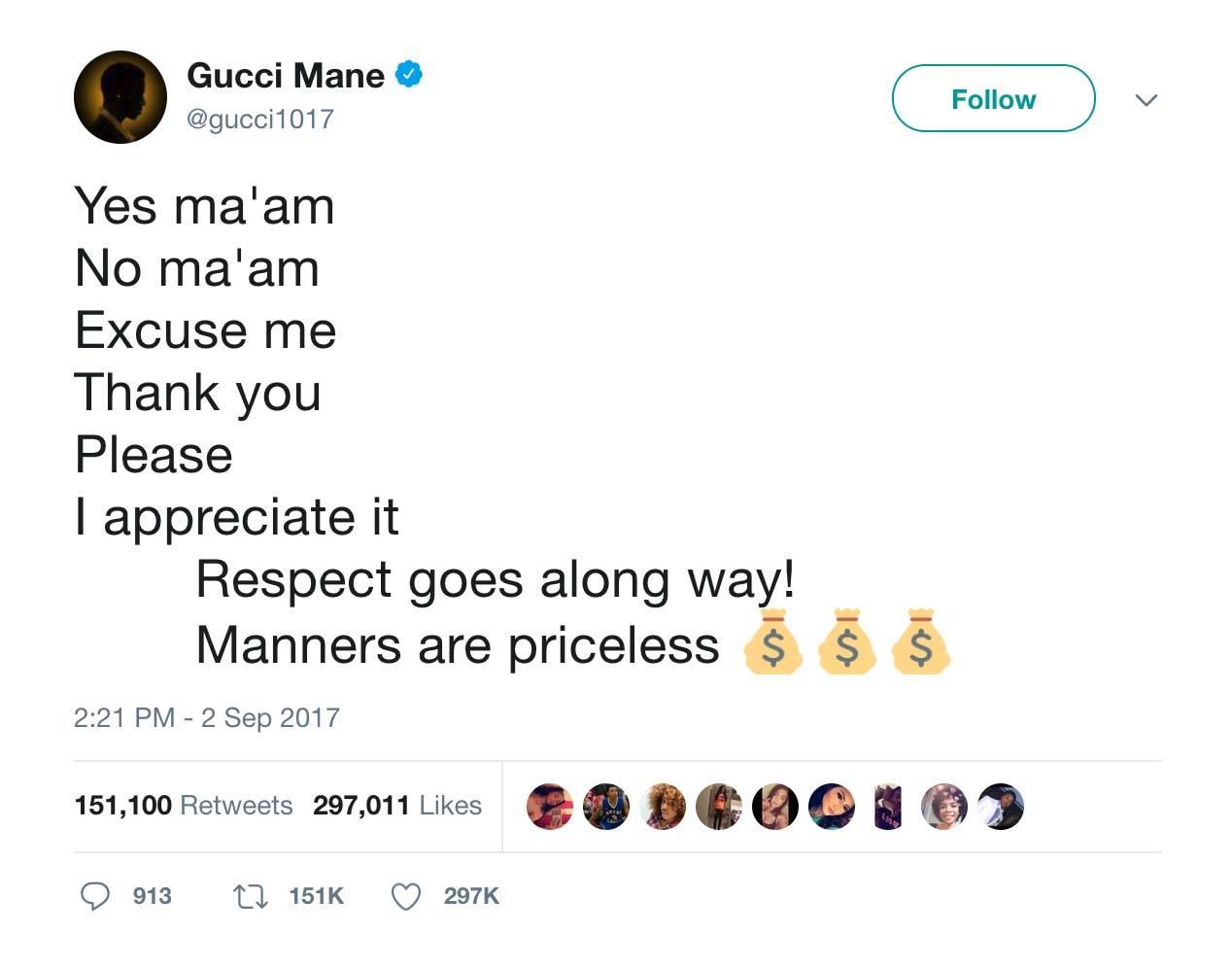 Manners Matter - (Photo: Gucci Mane via Twitter)