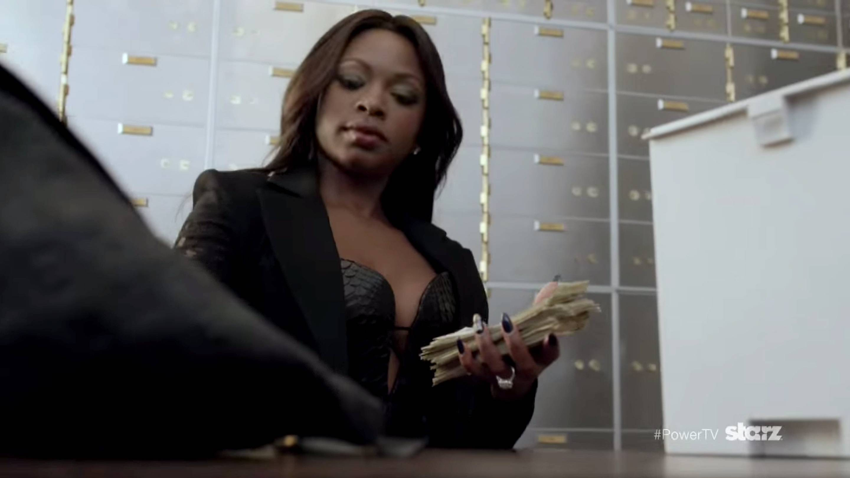 Plan B - Hours after finding out that James is cheating, Tasha redistributes James's money to her own account. Bloop!   (Photo: Starz)