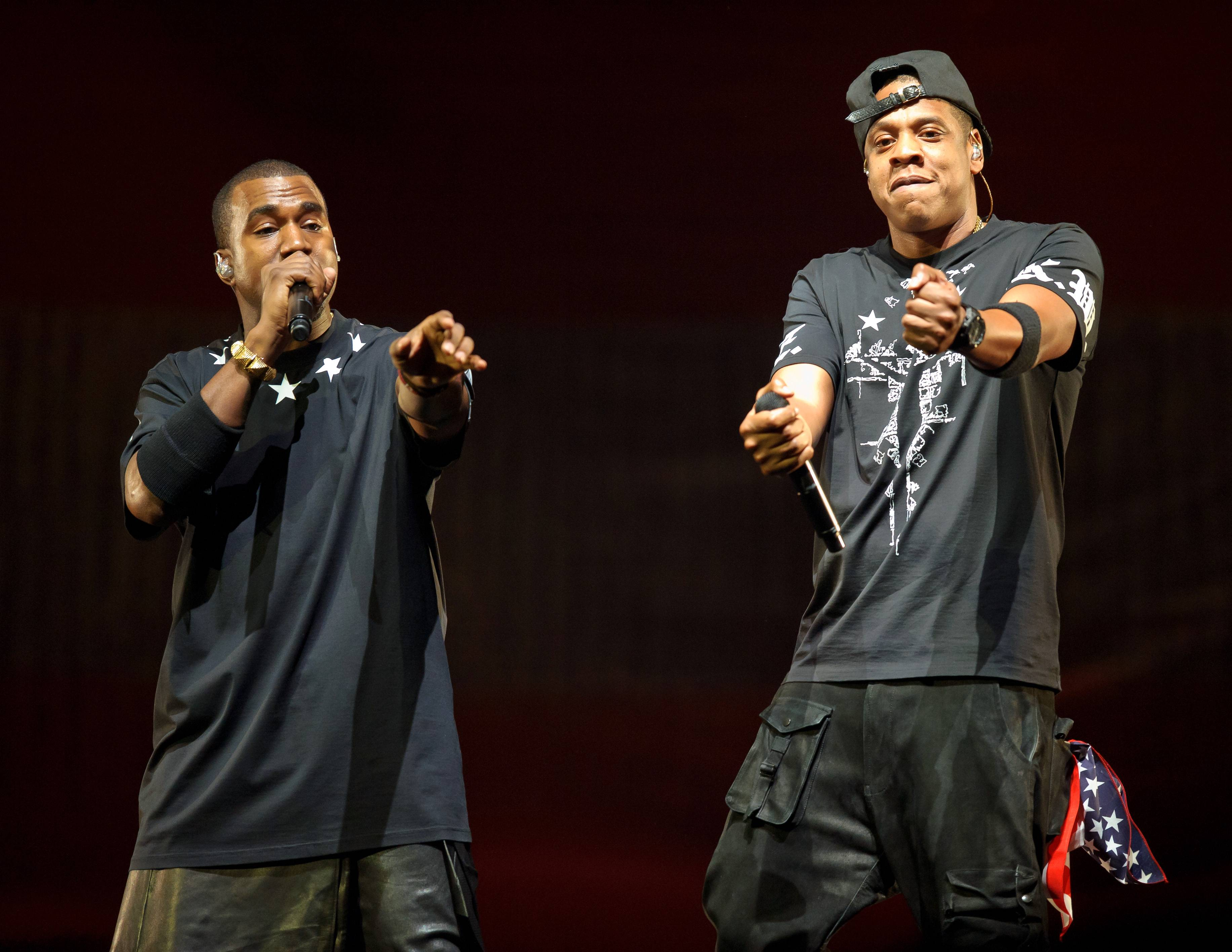 """The Throne - Jay-Z's and Kanye West's kingly duo is set to rule over the BET Awards with a whopping five nominations: two for Video of the Year (for """"Otis"""" and """"Paris""""), one for Best Group, one for Best Collaboration (for """"Otis""""), and one for the Coca-Cola Viewers' Choice Award (for """"Otis"""").(Photo: Kyle Gustafson/For The Washington Post via Getty Images)"""