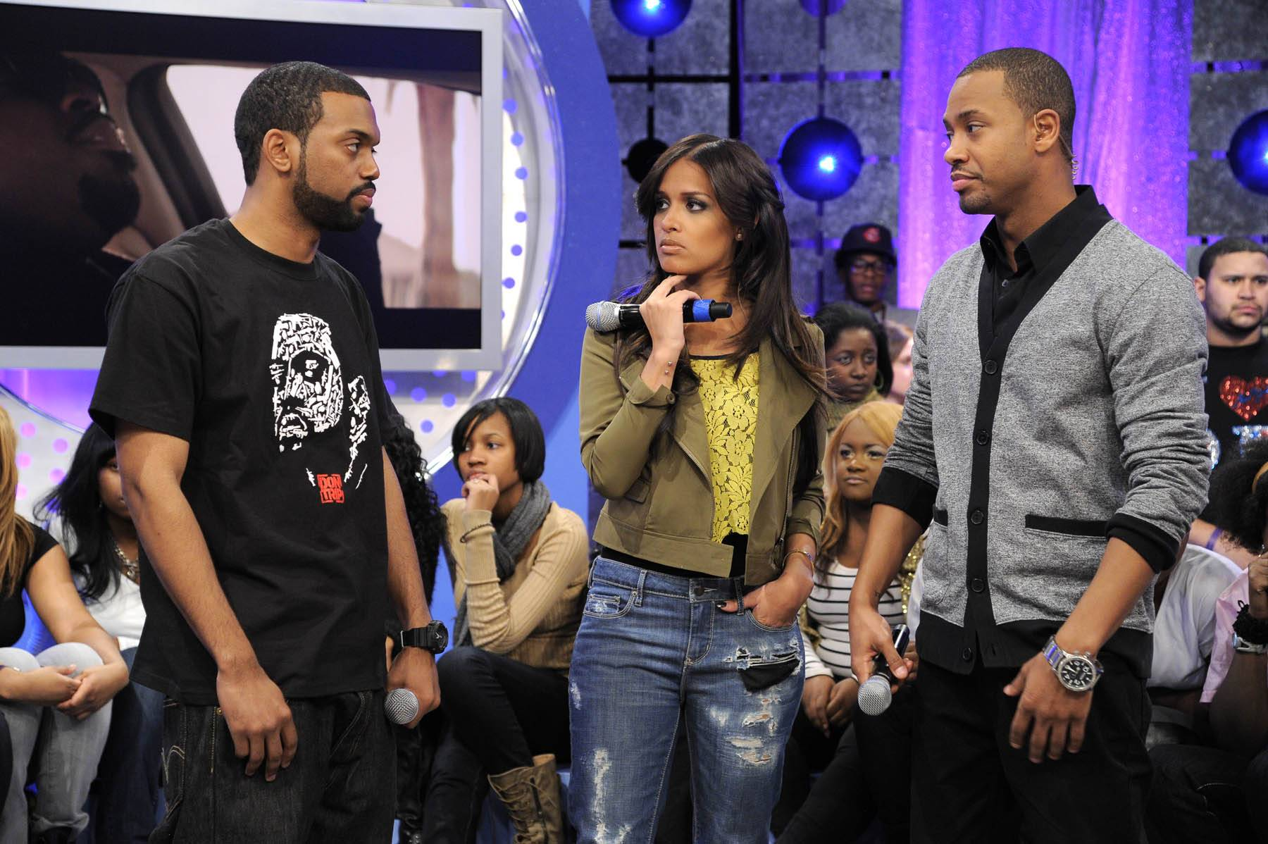 """Speak Out Now - Terrence J and Rocsi Diaz speak with Don Trip about the inspiration for his song, """"Letter to my Son,"""" at 106 & Park, January 30, 2012. (Photo: John Ricard / BET)"""