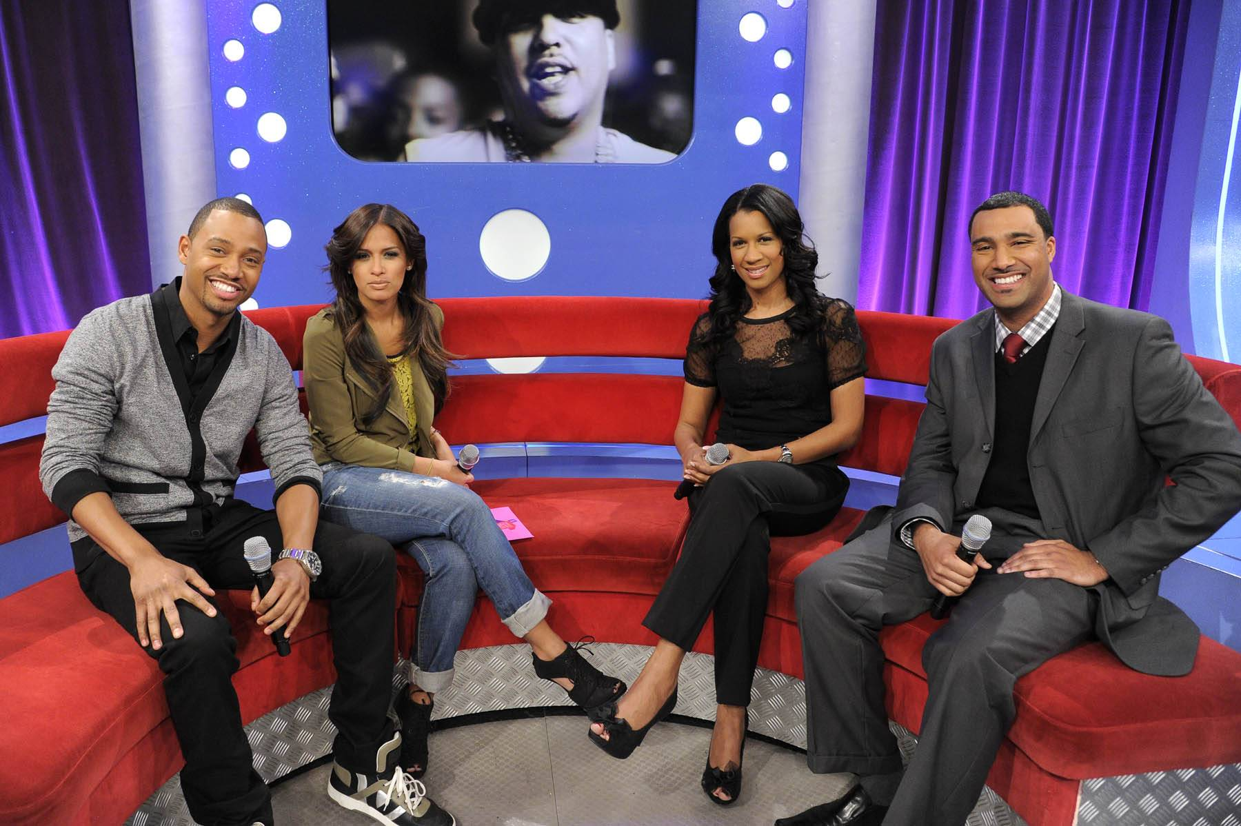 Let's Teach - Terrence and Rocsi talk with Dr. Michelle and Dr. Alduan Tarrt at 106 & Park, January 30, 2012. (Photo: John Ricard / BET)