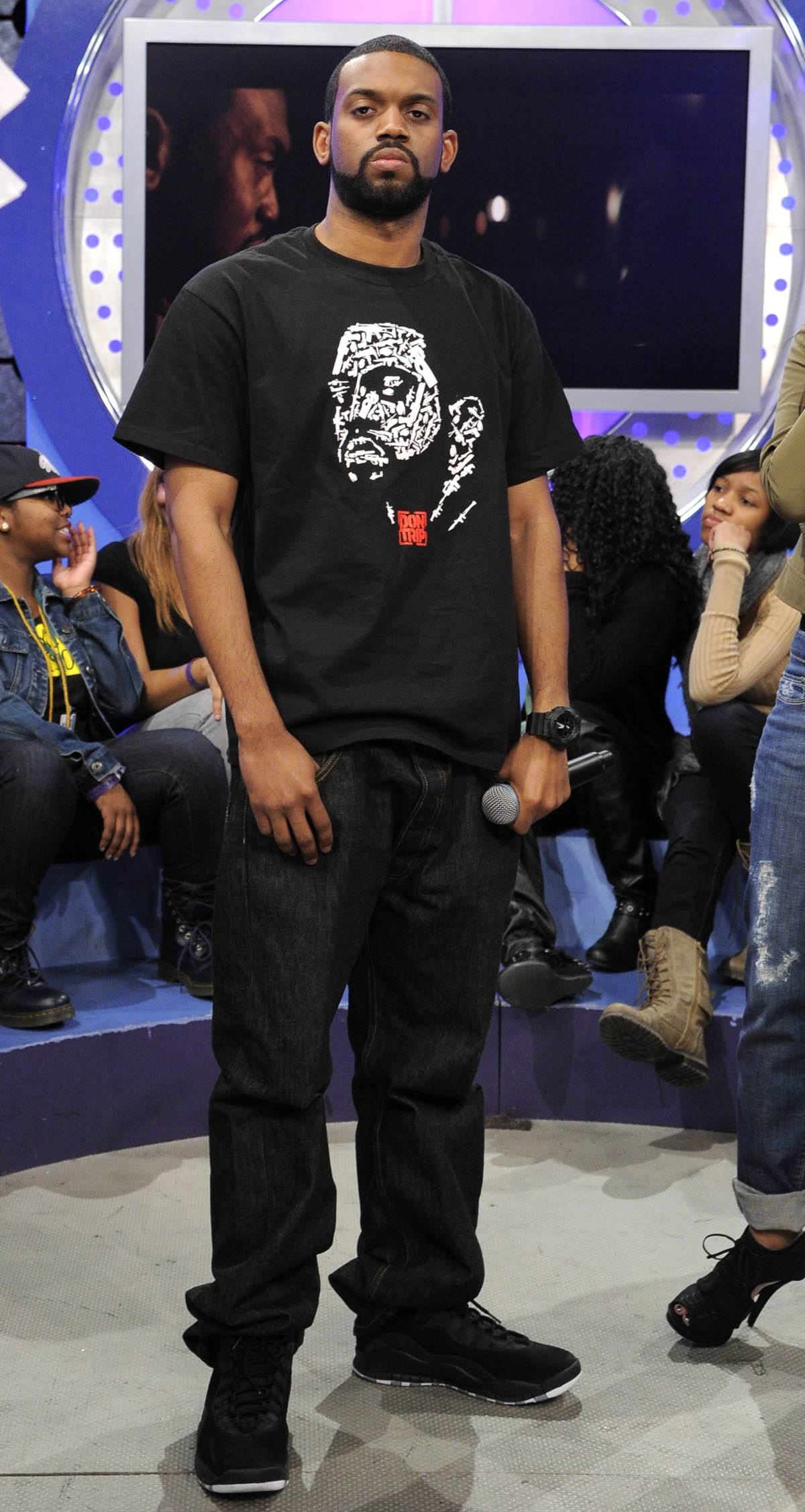 """Listen to My Joint - Don Trip listens as his song, """"Letter to my Son,"""" plays at 106 & Park, January 30, 2012. (Photo: John Ricard / BET)"""