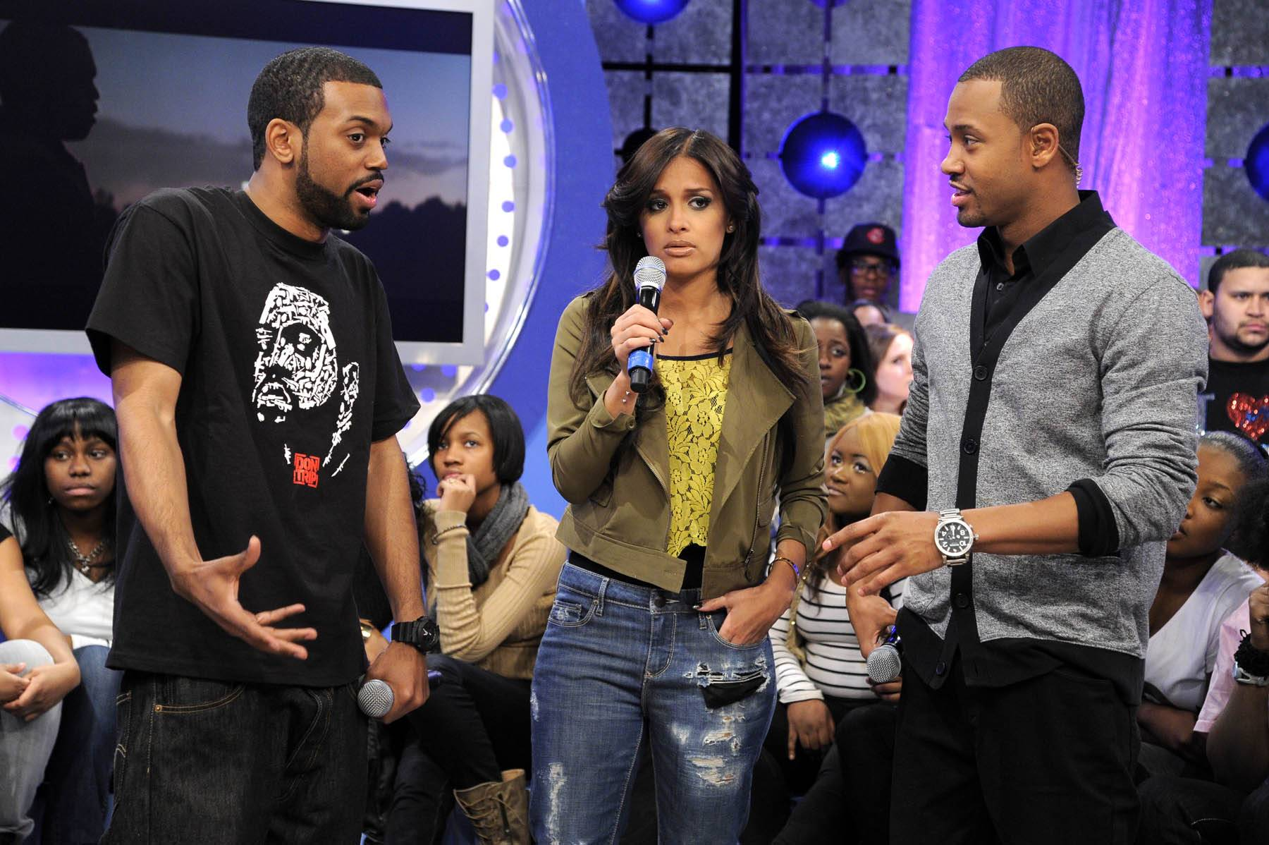 """Bring It - Terrence and Rocsi talk with Don Trip about the reason behind his song """"Letter to My Son"""" at 106 & Park, January 30, 2012. (Photo: John Ricard / BET)"""