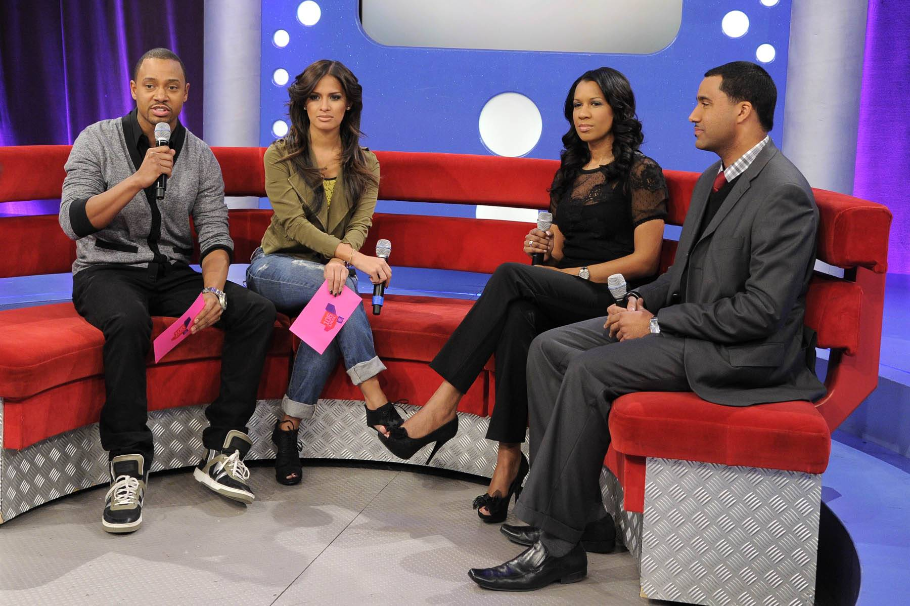 Let Us Learn - Terrence J and Rocsi Diaz talk with Dr. Michelle and Dr. Alduan Tarrt about single parenting at 106 & Park, January 30, 2012. (Photo: John Ricard / BET)