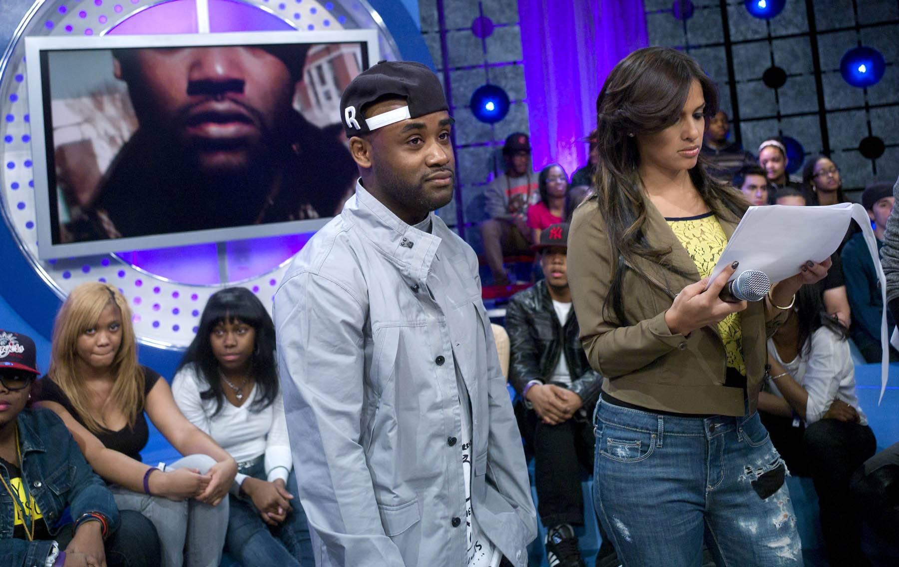 """I Thought So - Tray Chaney checks out his """"Fatherhood"""" video at 106 & Park, January 30, 2012. (Photo: John Ricard / BET)"""