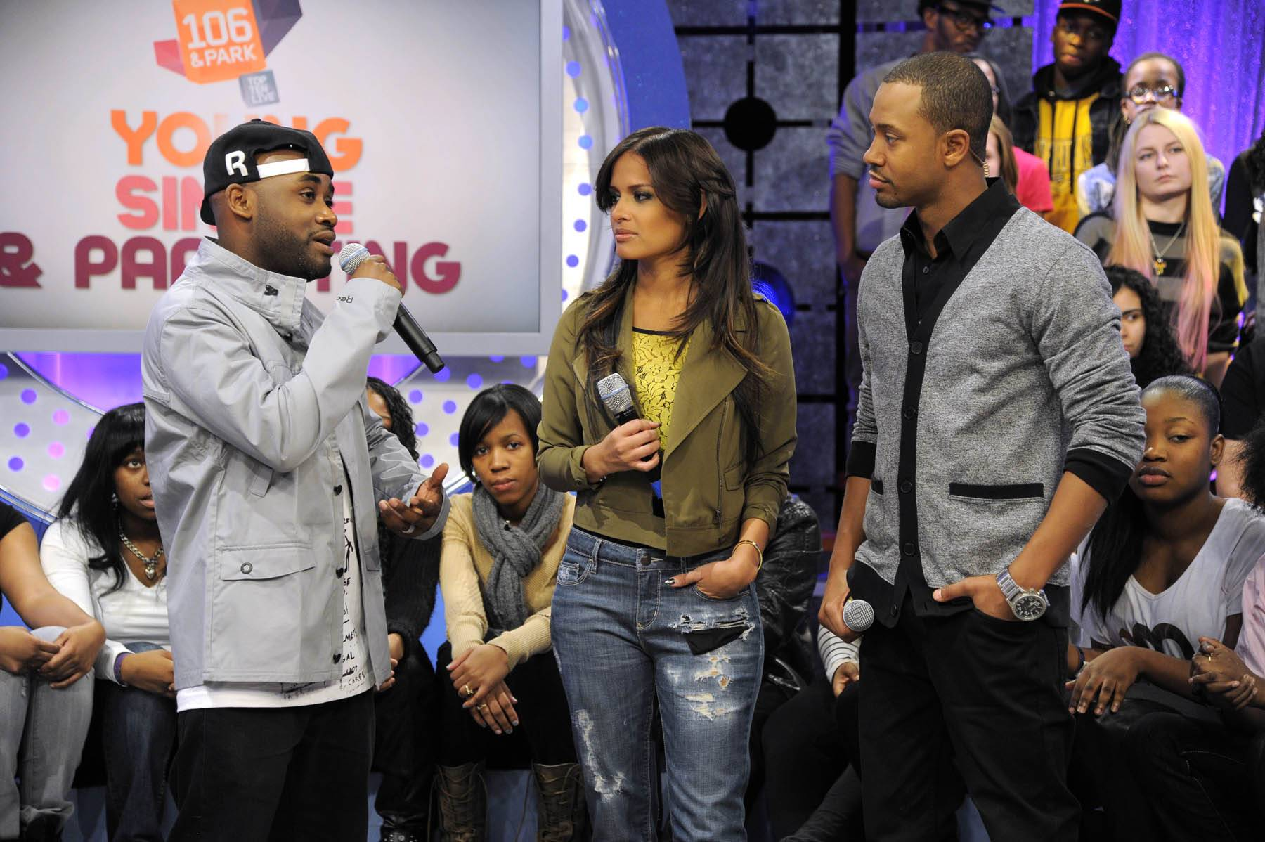 It's Tray - Tray Chaney talks with Terrence and Rocsi about parenting at 106 & Park, January 30, 2012. (Photo: John Ricard / BET)