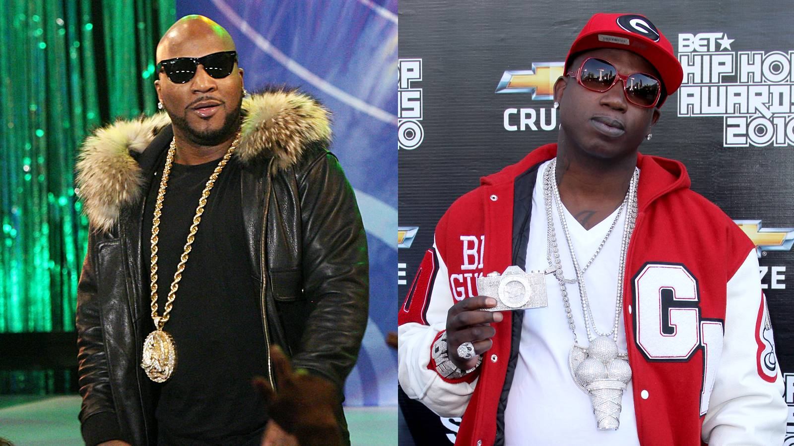 """Young Jeezy vs. Gucci Mane (Round 1) - Jeezy and Gucci have been clashing for years. Jeezy was featured on Gucci's breakthrough hit """"Icy,"""" but later claimed he was never paid for his work on the song and a war of words on wax and in the press escalated to real-life violence. Five men who were allegedly part of Jeezy's camp stormed a house Gucci was visiting and one was later found dead. Gucci and Jeezy eventually squashed, unsquashed and resquashed the beef with help from DJ Drama and seemed to have settled into a wary truce until the latest uproar. (Photos: Bennett Raglin/Getty Images; Taylor Hill/Getty Images)"""