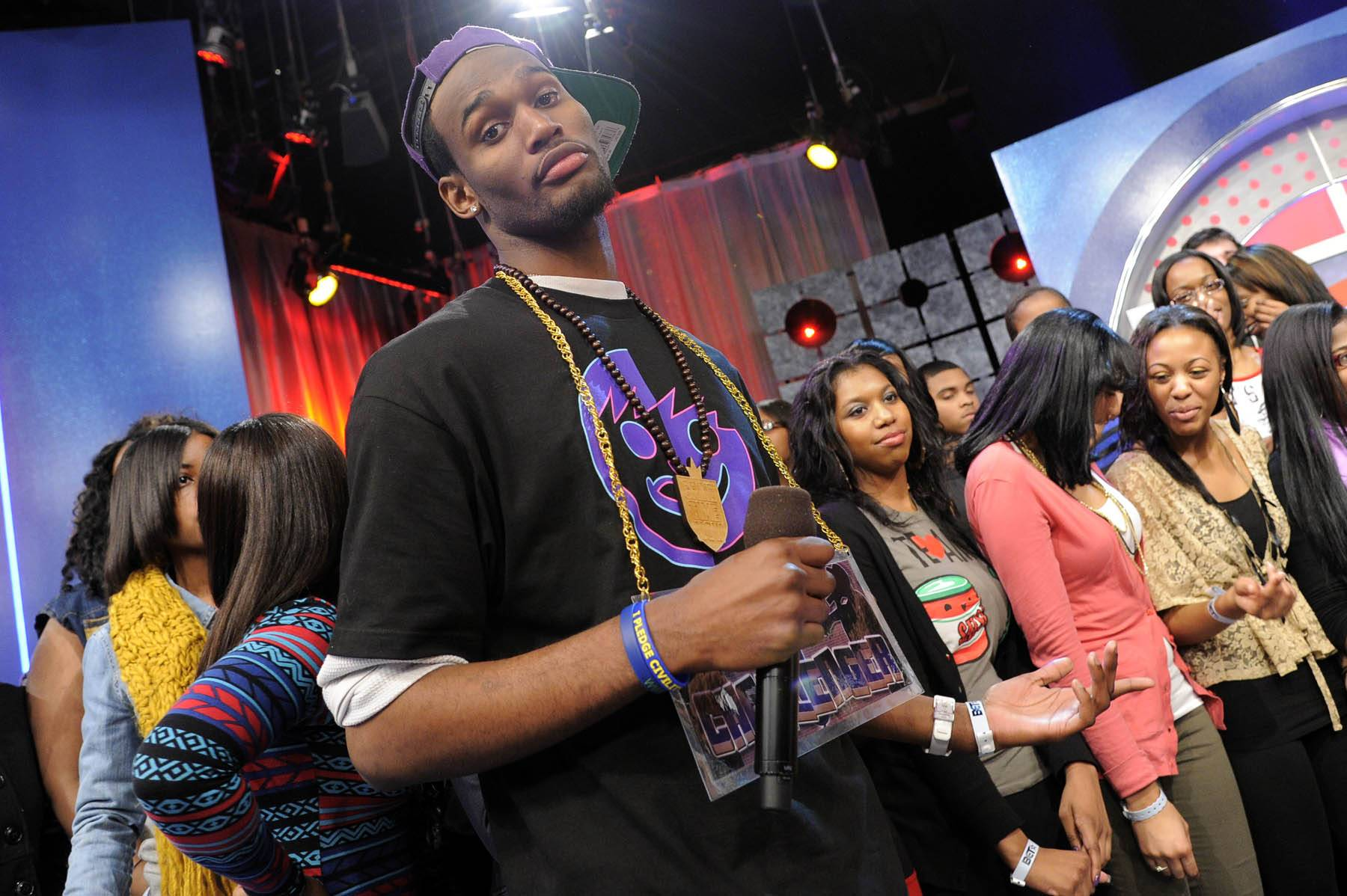 It's My Turn - Freestyle Friday challenger Rio the Raptor, who hails from Columbia, MD, at 106 & Park, January 27, 2012. (Photo: John Ricard / BET)