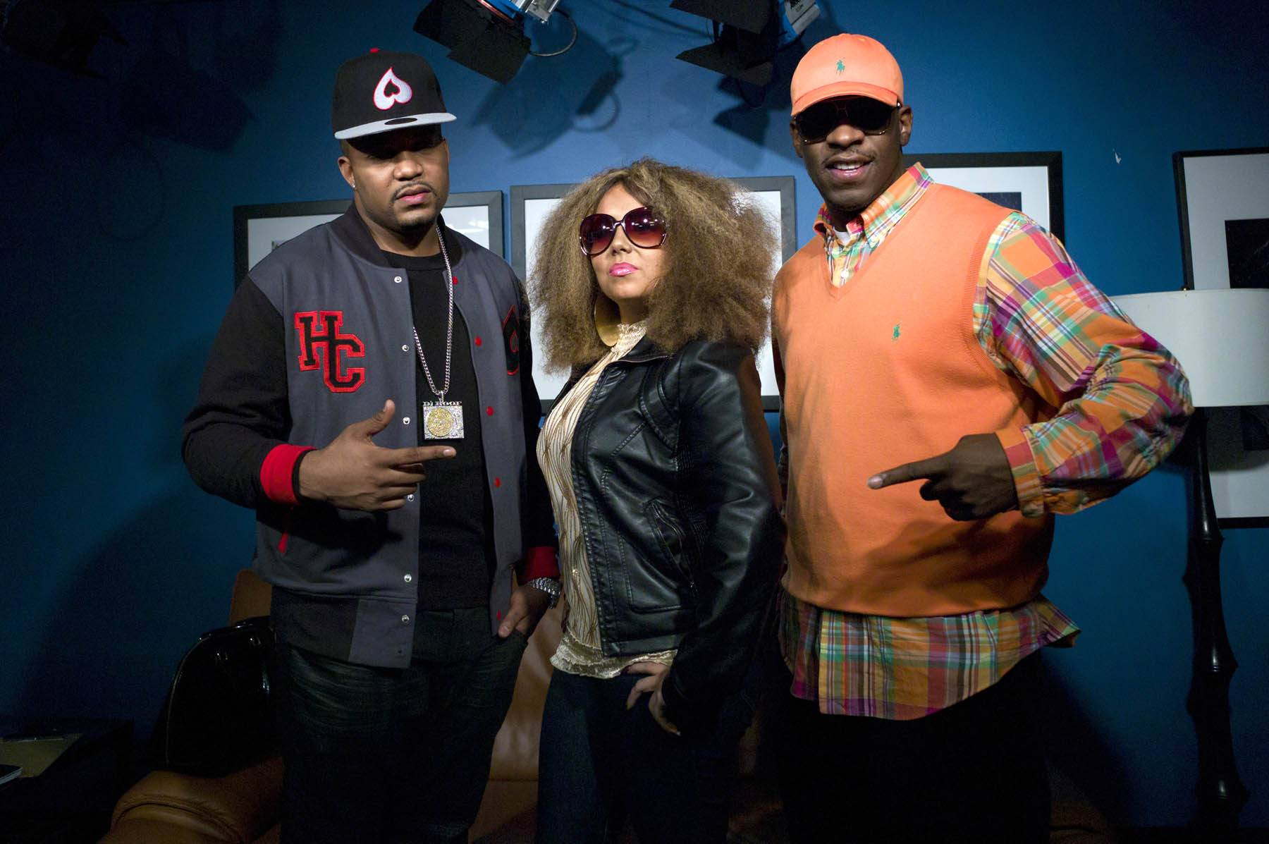 A-Town Is Here - DJ Boof and Young Dro with Amanda D in the green room at 106 & Park, January 27, 2012. (Photo: John Ricard / BET)