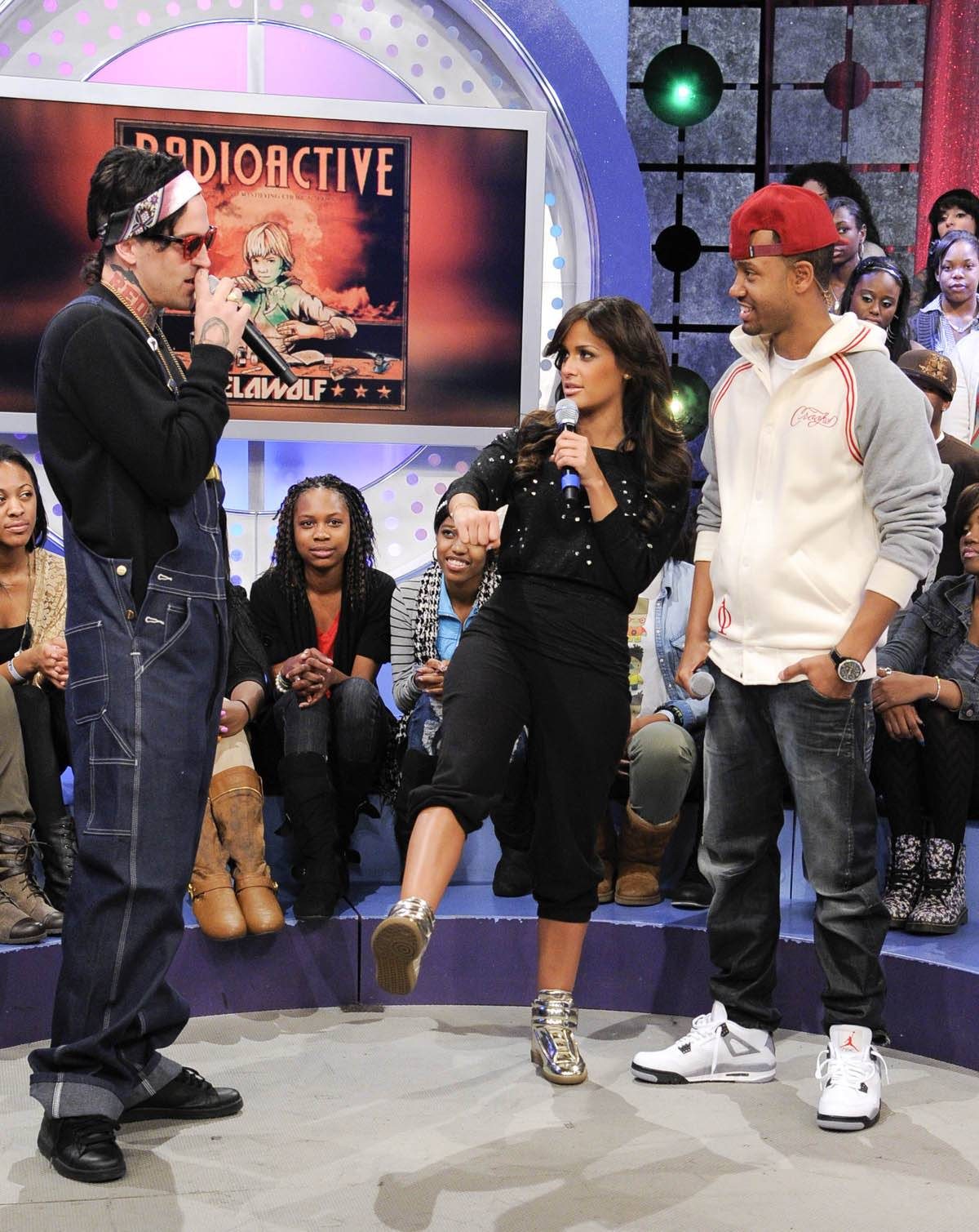 Is This It? - Rocsi Diaz asks if she is accurately representing the riding position for Yelawolf's motorcycle at 106 & Park, January 27, 2012. (Photo: John Ricard / BET)