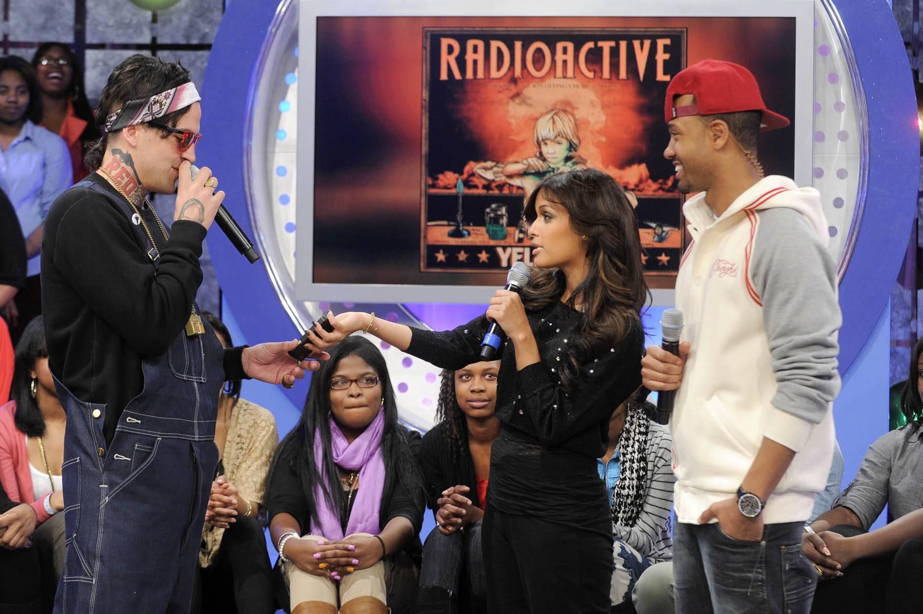 Radioactive - Yelawolf with Rocsi Diaz and Terrence J at 106 & Park, January 27, 2012. (Photo: John Ricard / BET)