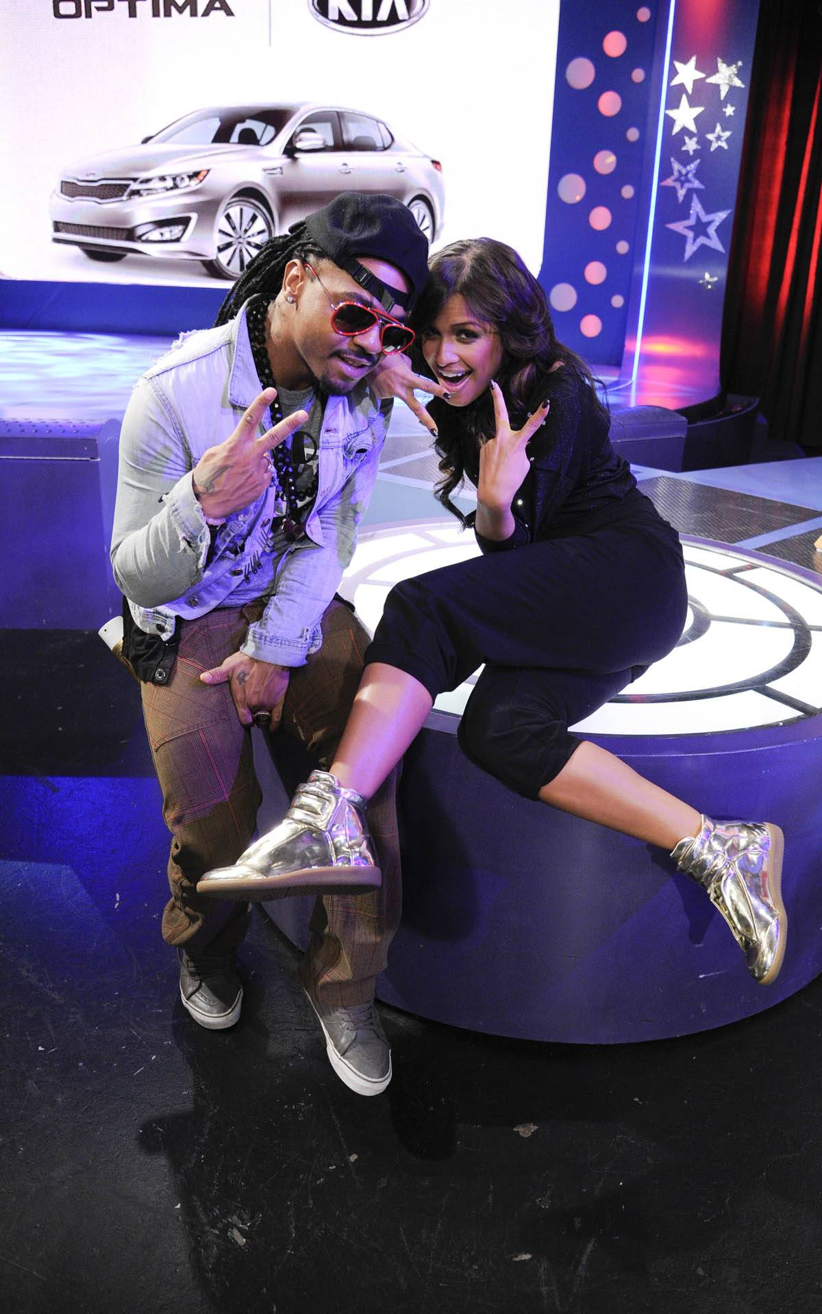 Love From Me to You - Rocsi Diaz with hairstylist Q at 106 & Park, January 27, 2012. (Photo: John Ricard / BET)
