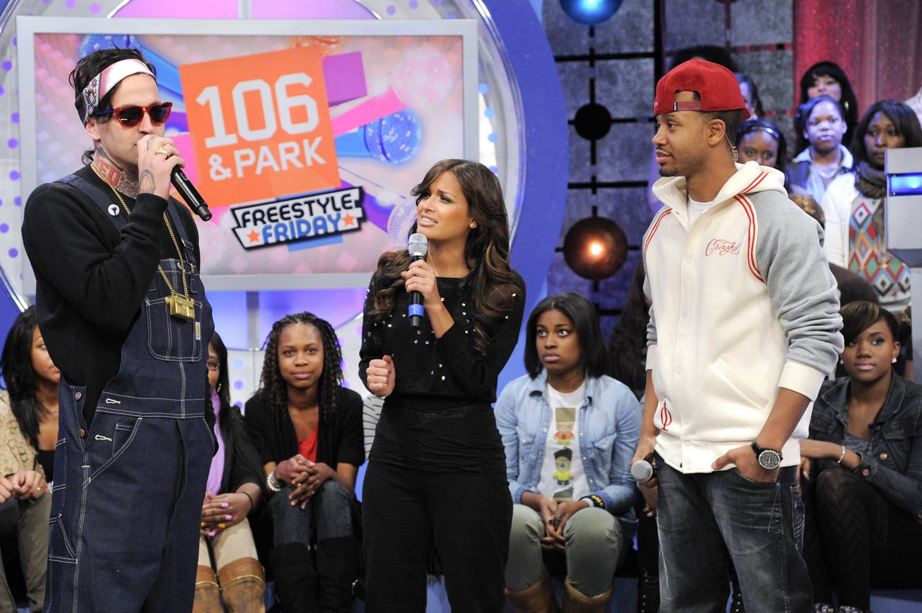 Let's Do This - Yelawolf with Rocsi Diaz and Terrence J at 106 & Park, January 27, 2012. (Photo: John Ricard / BET)