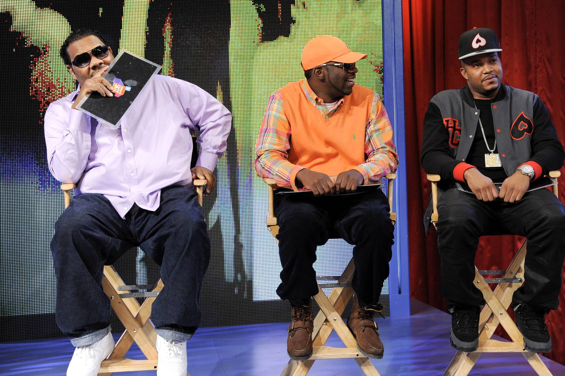 Bring Them Out - Freestyle Friday judges Fatman Scoop, Young Dro and DJ Boof at 106 & Park, January 27, 2012. (Photo: John Ricard / BET)
