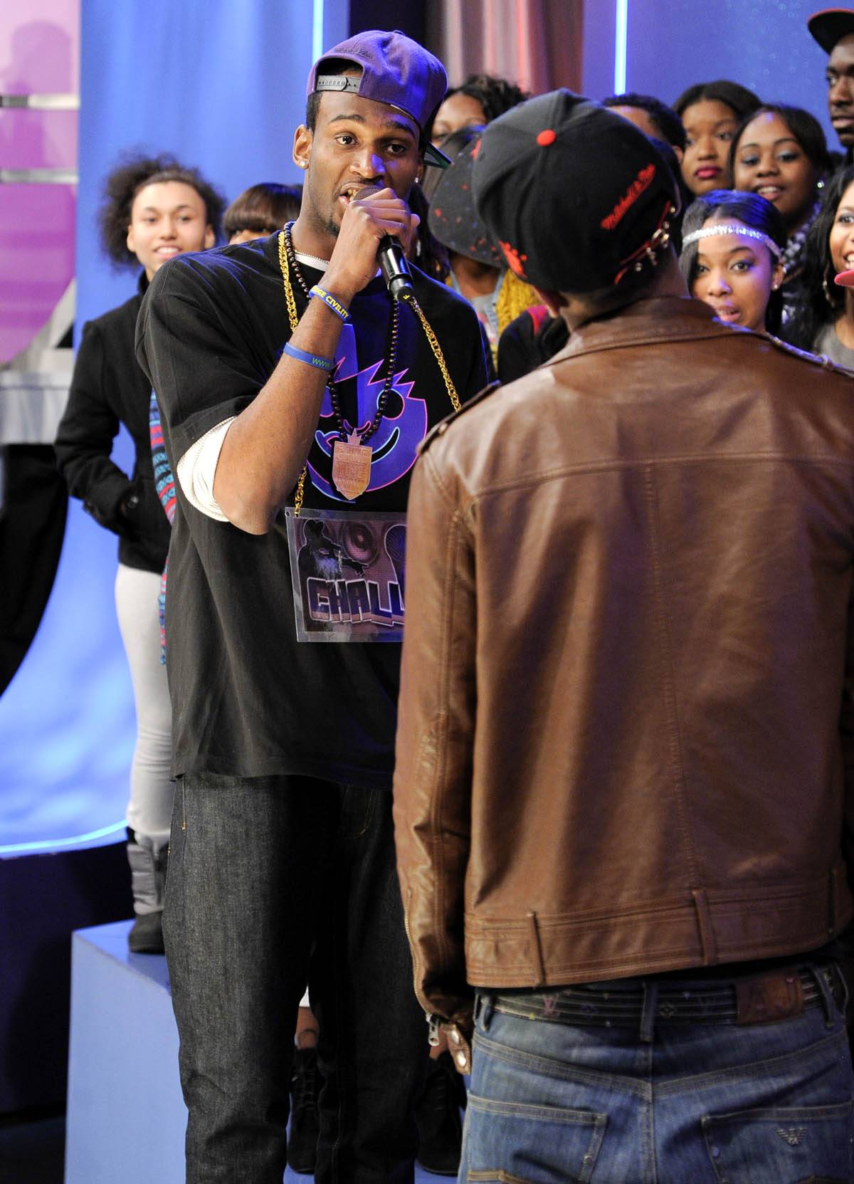 Spit Hard - Freestyle Friday challenger Rio the Raptor battles at 106 & Park, January 27, 2012. (Photo: John Ricard / BET)